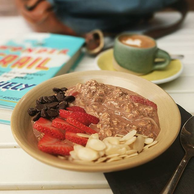 """For the rest of the rest of the week, we've got chocolate strawberry soaked oats! ..and until someone takes it, the very excellent travelogue """"The Wonder Trail"""" by @helytimes 👋🙌❤️ Oh, and we've got a special surprise from @ruthanddean for tomorrow.  #yyj #summervibes"""