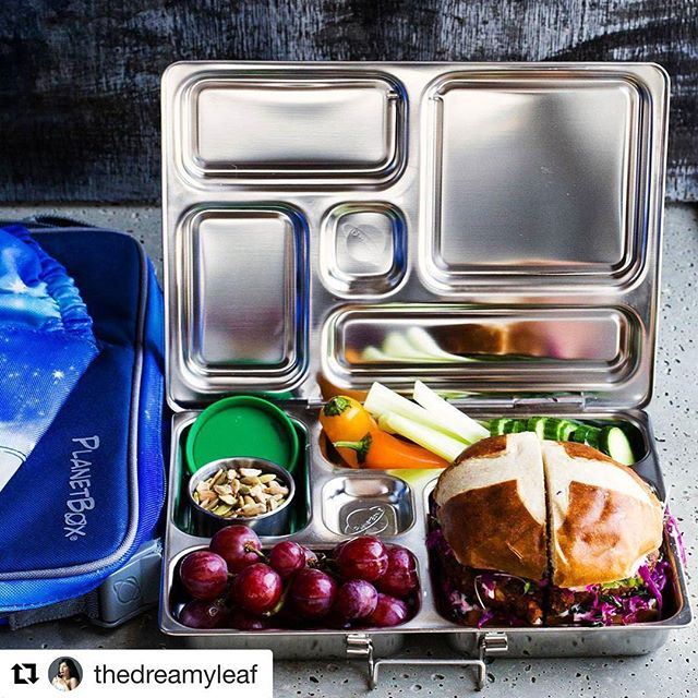 We've always been a fan of these @planetbox lunch kits and now we are taking the plunge and buying one for each family member, so we can all eat health and use less plastic!! 💚✔️🍏😍 And if you haven't checked out @thedreamyleaf you are seriously missing out!  #Repost @thedreamyleaf ・・・ Just upgraded my son's school lunch with @planetbox 😍 I never liked the idea of plastic lunch containers and typically glassware is not allowed at schools. So I was very happy to find this high-quality, versatile stainless steel option with nicely sized compartments for a variety of snacks. It is really nicely thought of, including the carry bag, sauce and liquid container inserts, even down to a cute pair of fork and spoon. He is so much more excited about his lunch now 😊  The patty for the pretzel burger in the pic is a big lunch favorite and it's recipe is on the blog (recipe link in profile)  #vegan #plantbased #lunch #schoollunch #lunchbox