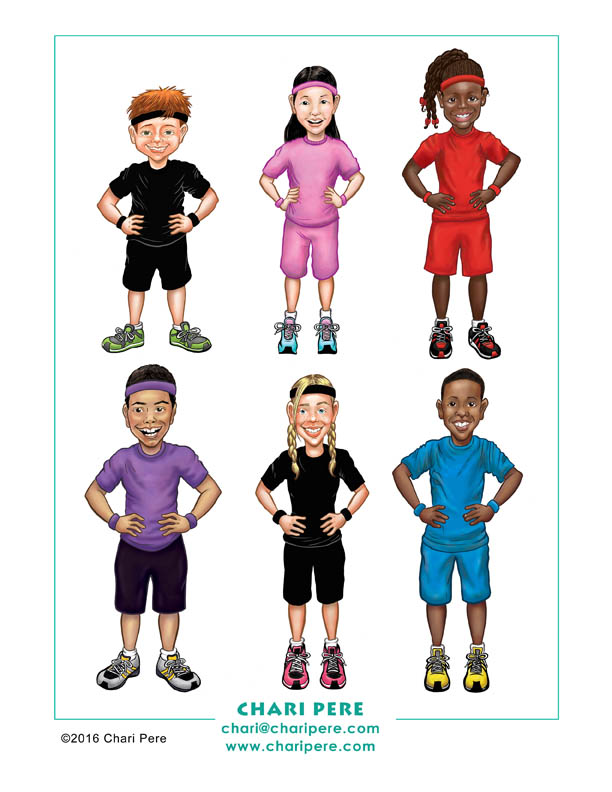Character designs for Xinja Fitness