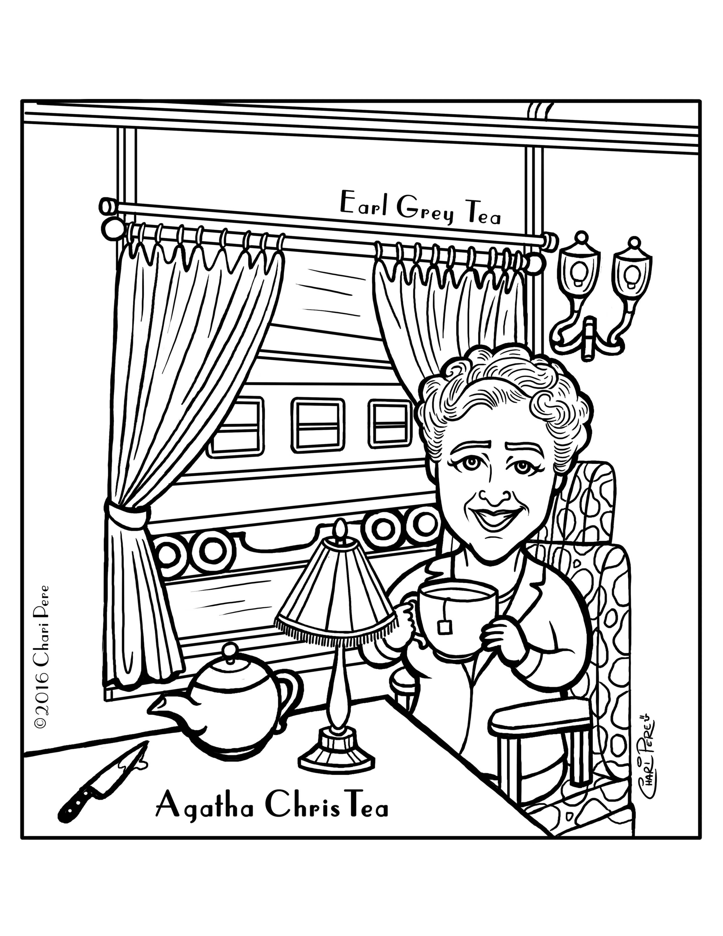 Agatha ChrisTea Coloring Page for The TeaBook