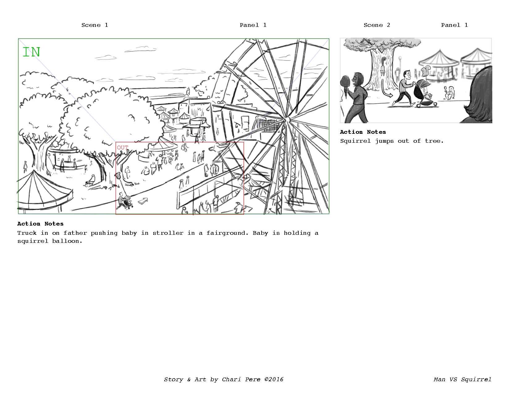 Man VS. Squirrel Storyboards, Page 1