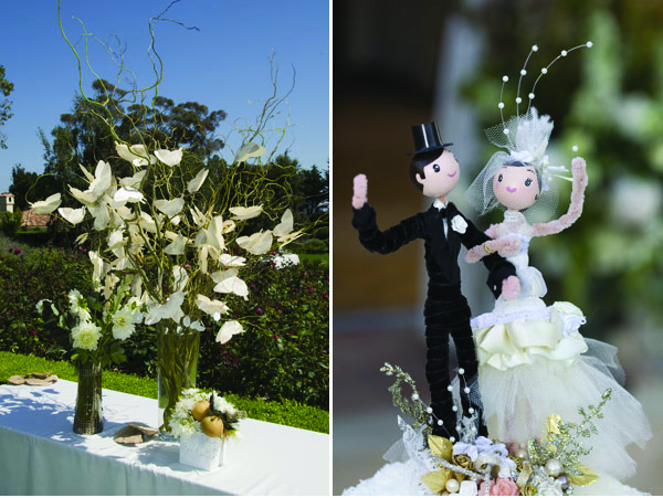 www.santabarbarawedding.com | Our Lady of Mount Carmel Ceremony | Melissa Musgrove Photography | Escort Card Tree | Wedding Cake Topper