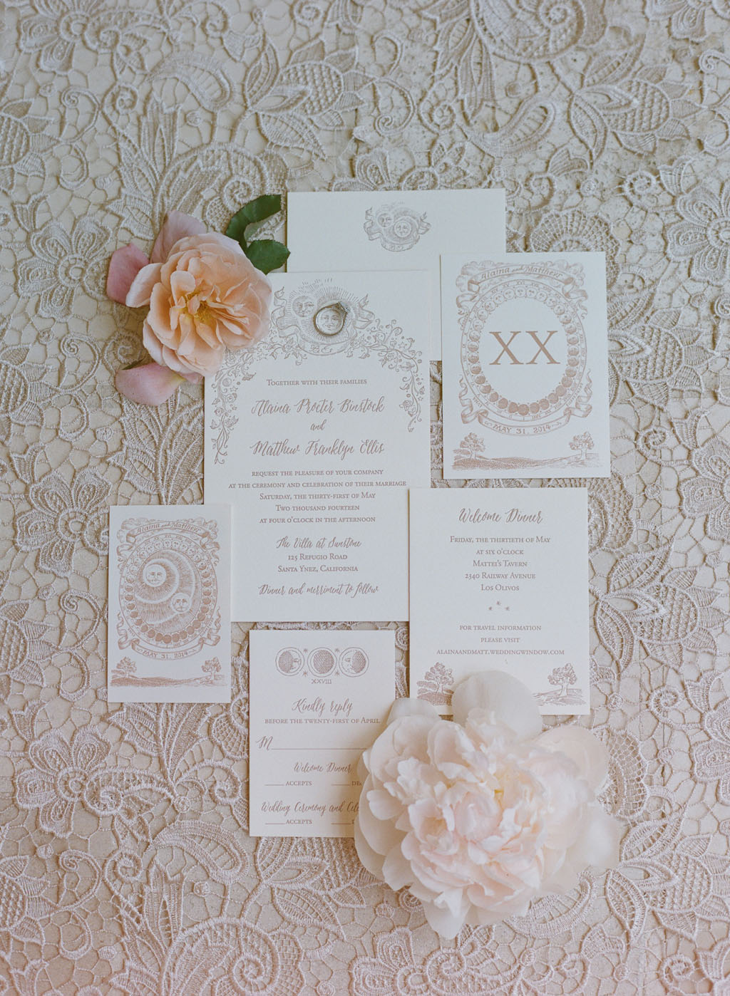 www.SantaBarbaraWedding.com | Merryl Brown Events | Wedding Invitation | Elizabeth Messina | Phases of the Moon Theme Wedding | THE STATIONERY COLLECTION | JANICE BLAIR CALLIGRAPHY