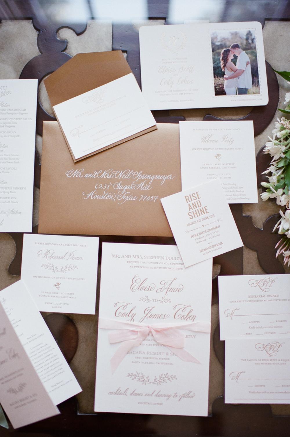 www.santabarbarawedding.com | Lazaro Press and Design | Wedding Invitations | Invitation Suite | Weekend of events invitation