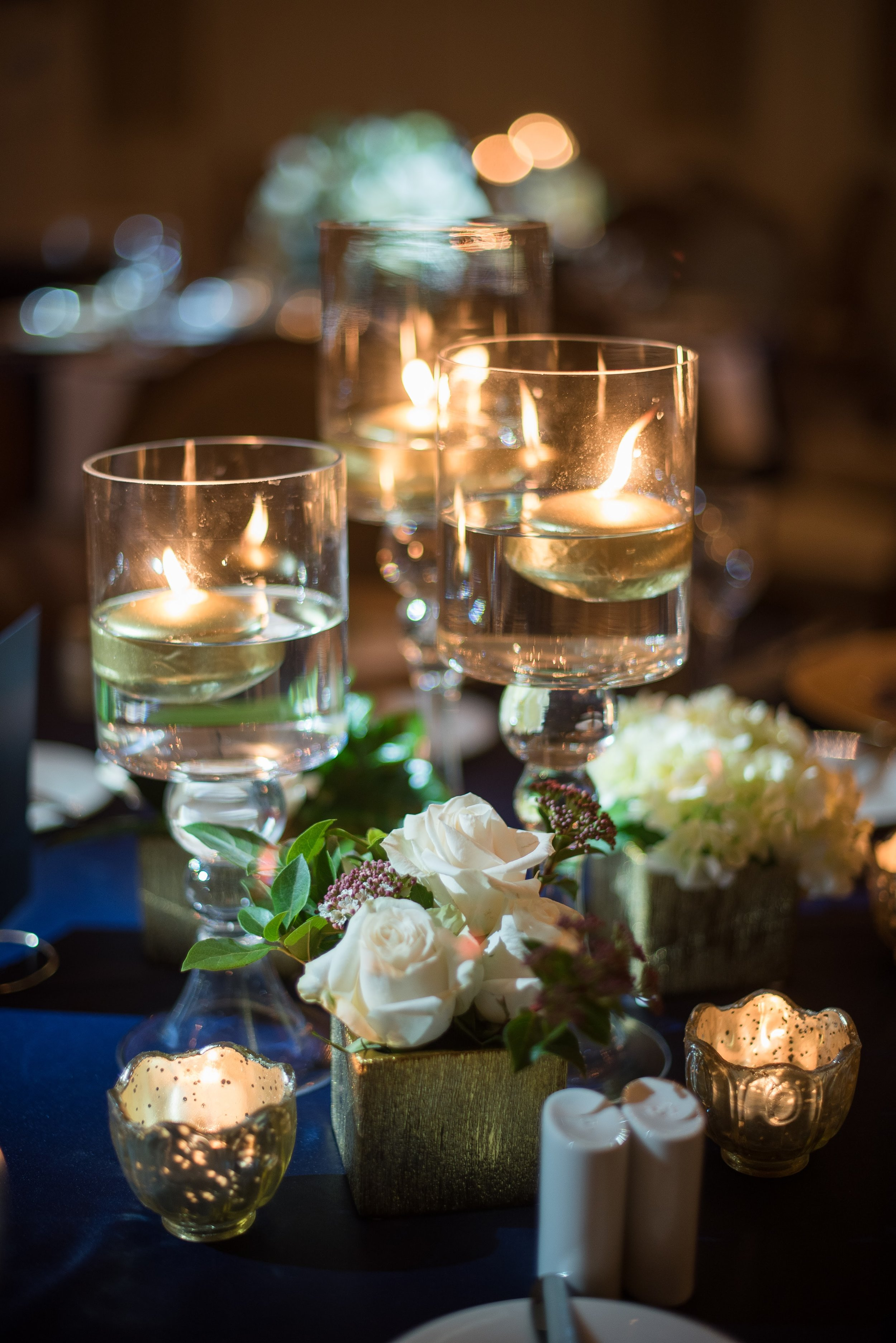 www.santabarbaraweddingstyle.com | San | Felici Events | Belmond El Encanto | Nate & Jenny Weddings | Precious and Blooming | Reception | Navy and Gold Wedding Table Top Inspo