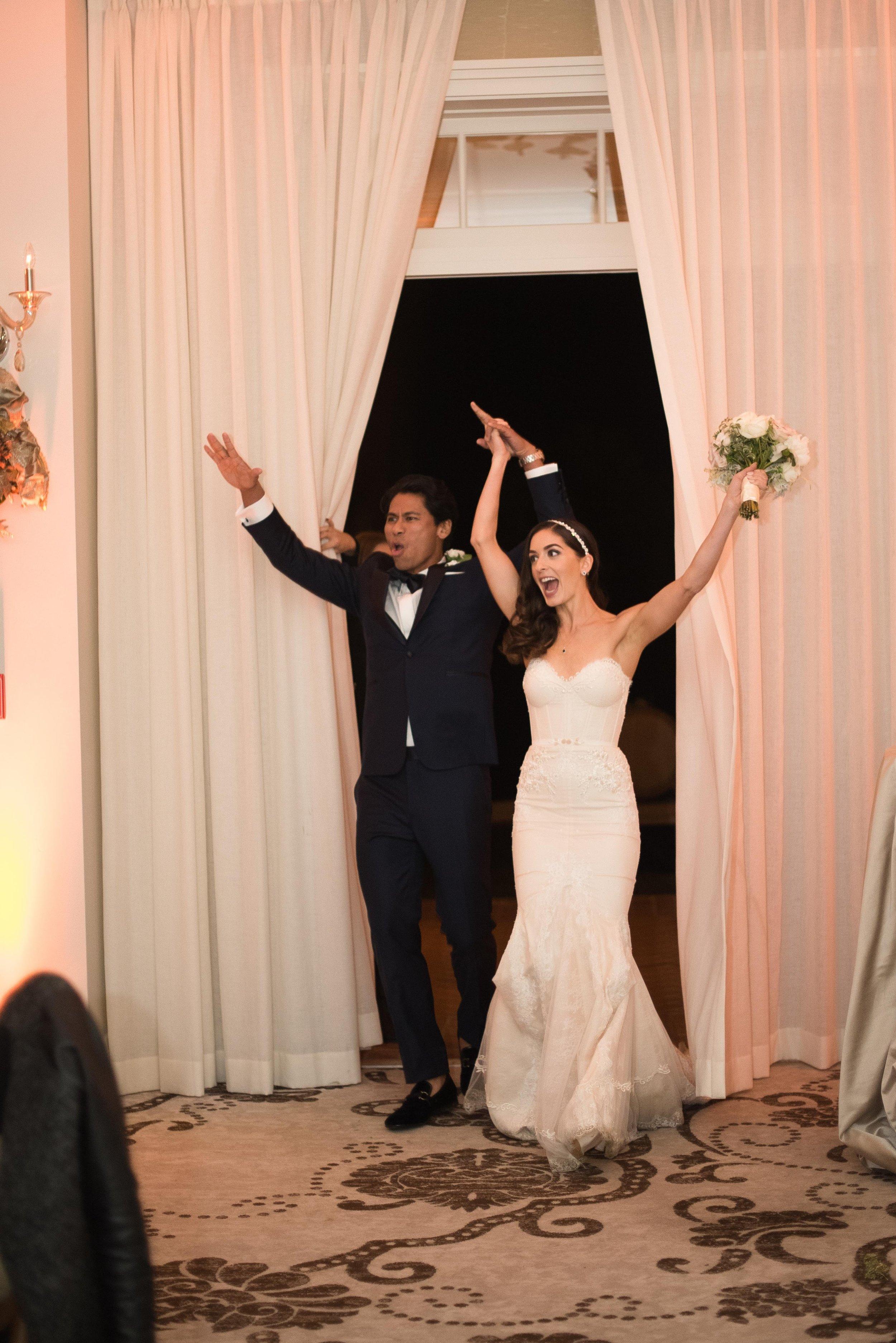 www.santabarbaraweddingstyle.com | San | Felici Events | Belmond El Encanto | Nate & Jenny Weddings | Precious and Blooming | Reception | Navy and Gold Wedding Grand Entrance