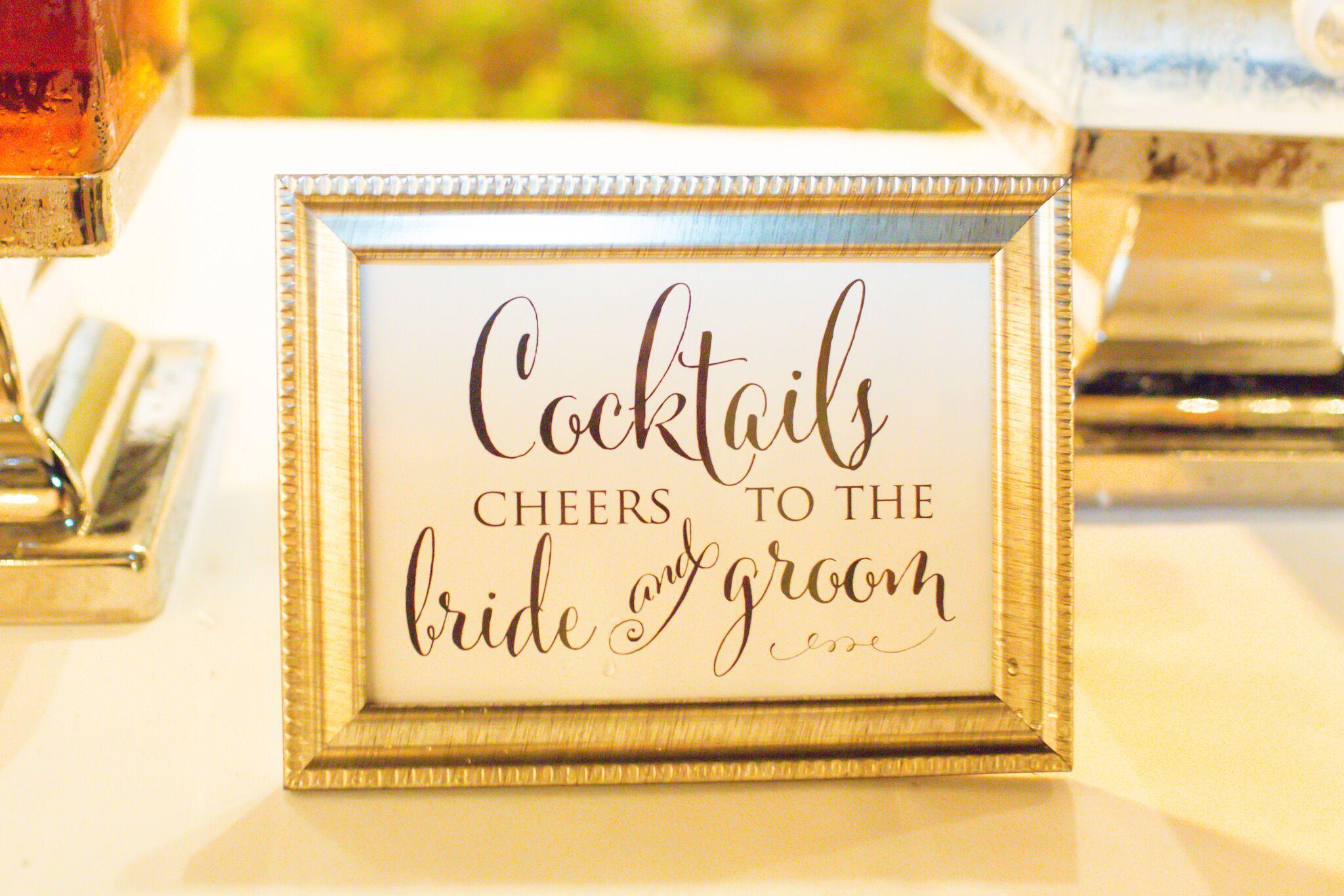 www.santabarbarawedding.com | James and Jess Fairchild Photography | Brenda Cali Santa Barbara Club Wedding | Signature Drink Sign | Frame Bar Drink