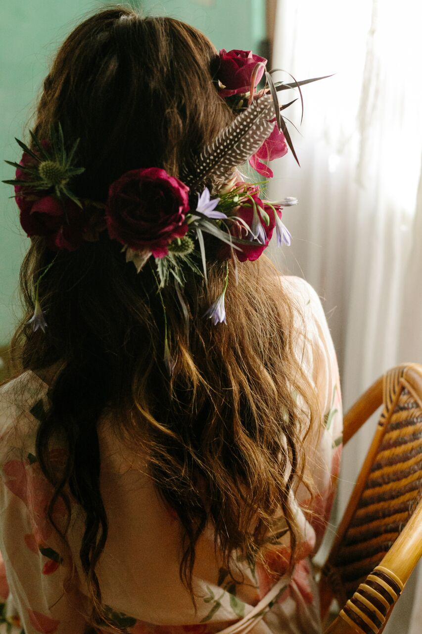 santabarbarawedding.com | Ella & Louie Floral Design | Florist | Wedding Flowers | Burgundy Floral Crown | Brides