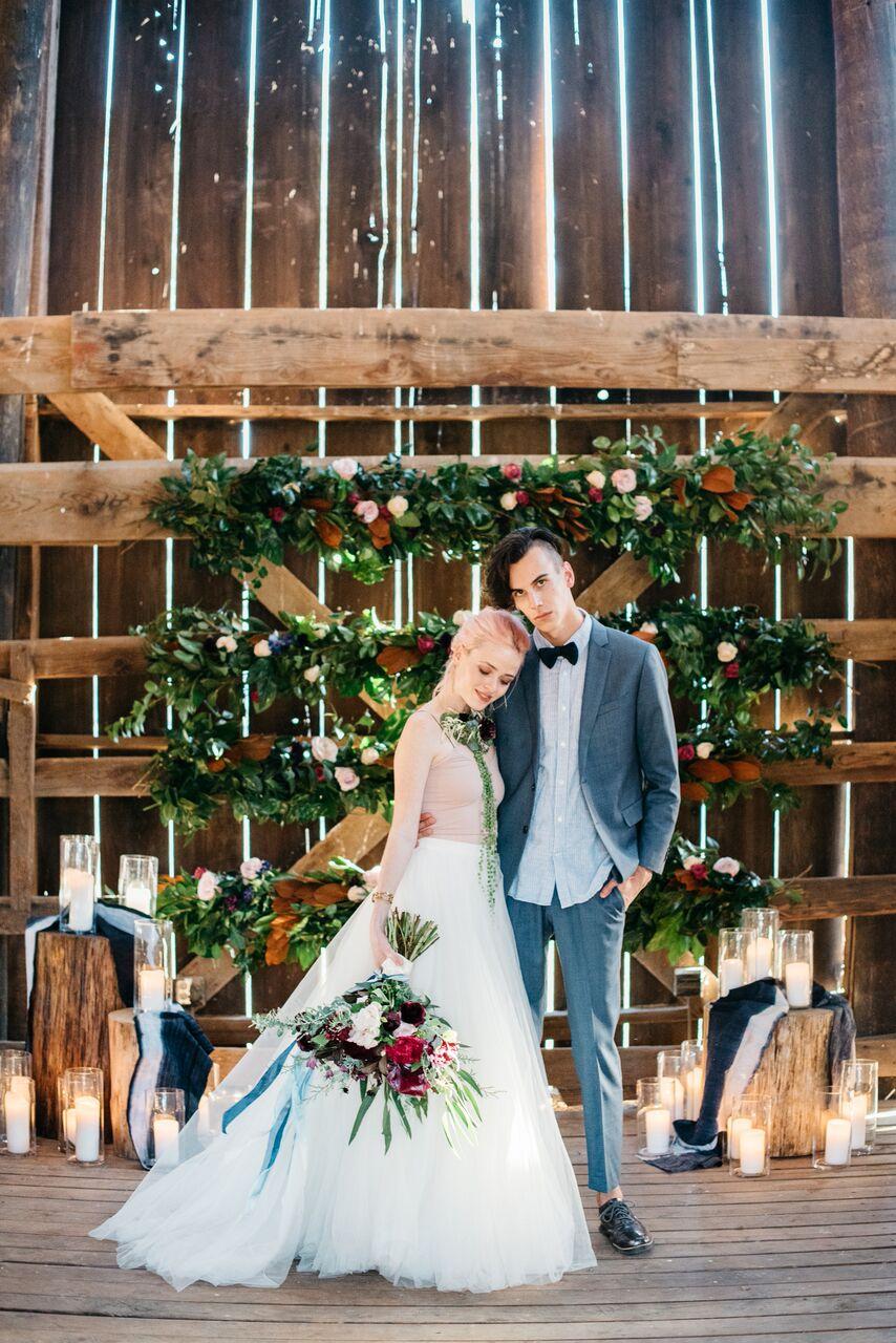 santabarbarawedding.com | Ella & Louie Floral Design | Florist | Barn Wedding | Bride and Groom