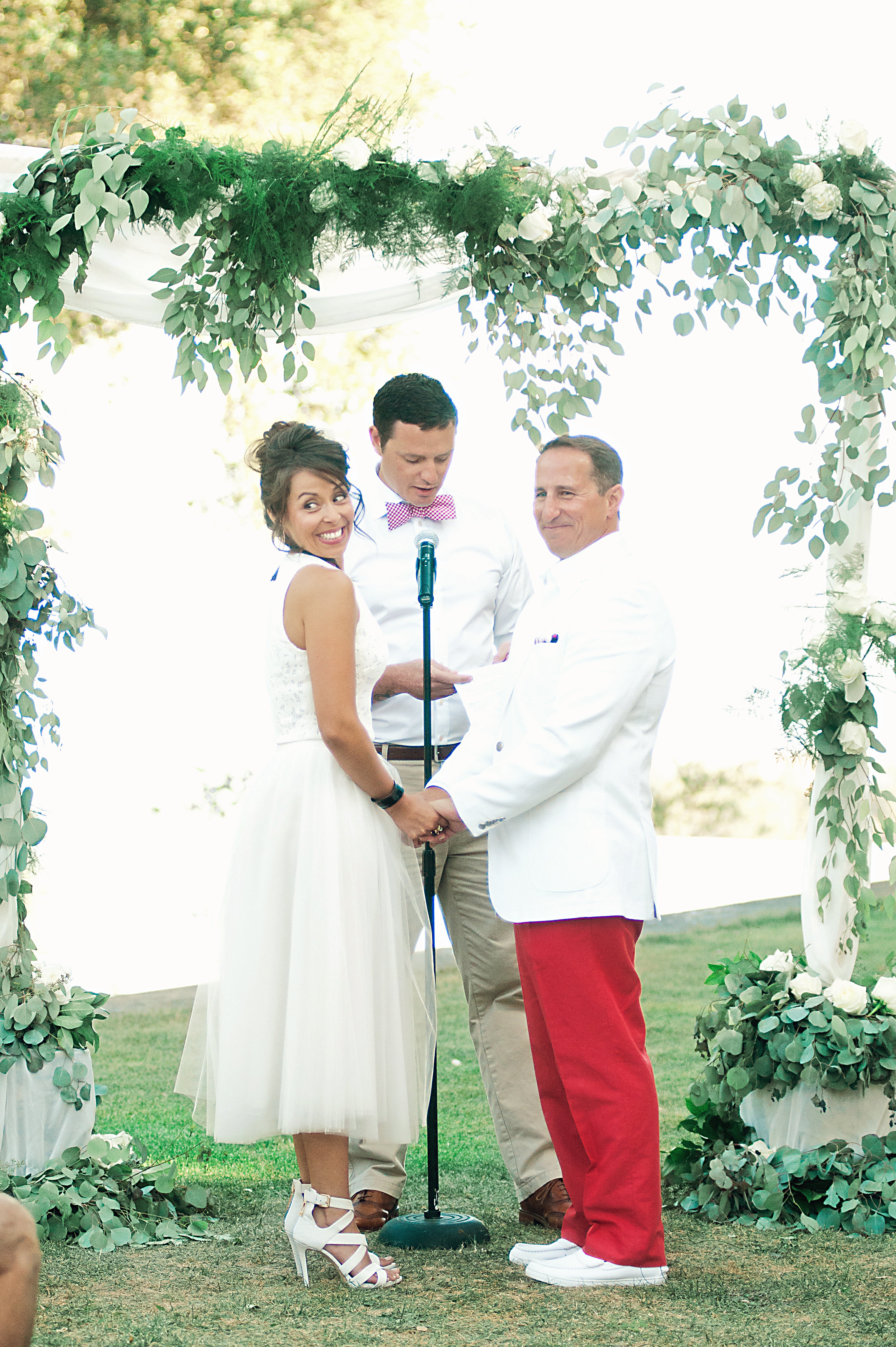 santabarbarawedding.com | Wisteria Lane Flroal Design Studio | Wedding Altar | Bride and Groom | Roses