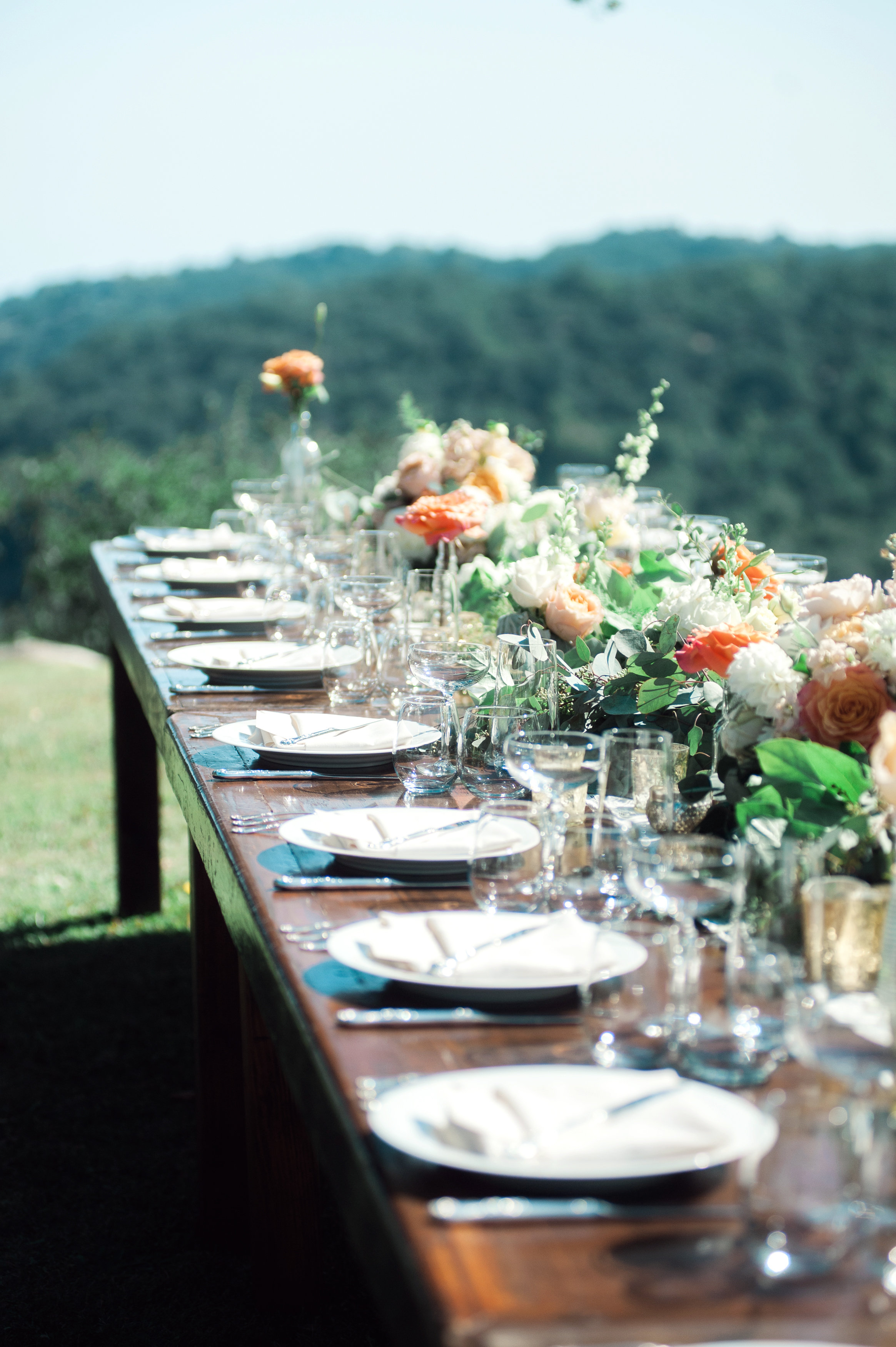 santabarbarawedding.com | Wisteria Lane Flroal Design Studio | Bride and Groom | Garden Roses | Darkwood Farm Table Decor | Floral Runner