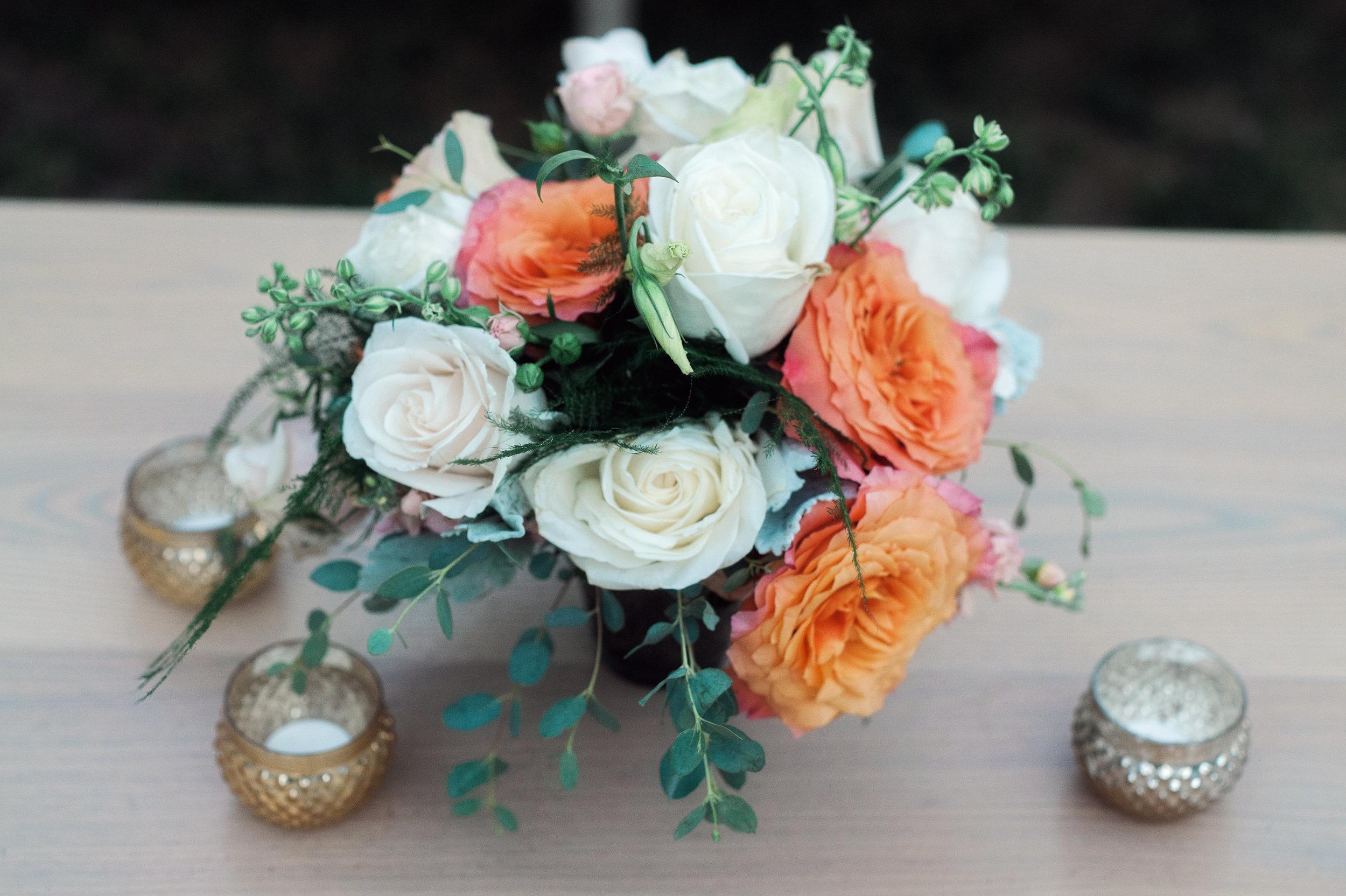 santabarbarawedding.com | Wisteria Lane Flroal Design Studio | Bride and Groom | Garden Roses | Tea Roses | Cocktail Reception Floral with Gold Accents