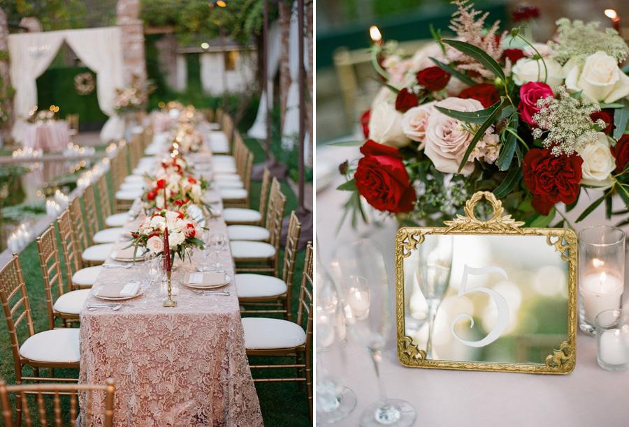 www.santabarbarawedding.com | Gold Table Number | Gold Candlesticks | Gold Inspiration | Belmond El Encanto | Gold Cake Table | La Tavola Linen | Michelle Beller Photography