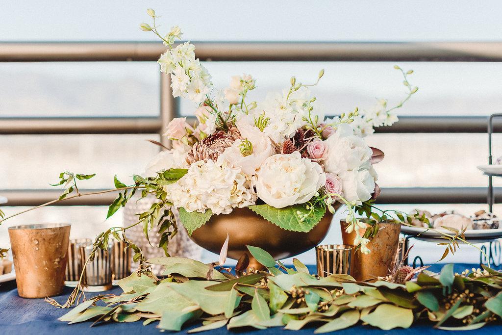 www.santabarbarawedding.com | Rewind Photography | Santa Barbara Maritime Museum | Floral Arrangement