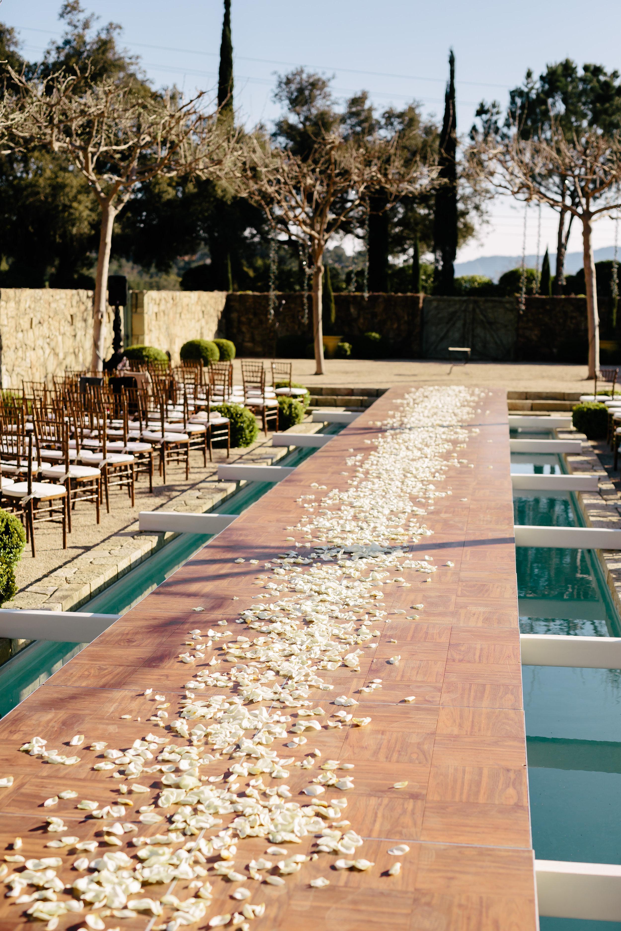 www.santabarbarawedding.com | Rewind Photography | Provence in Ojai | Pool Runway | Vigen's Party Rentals | Ceremony