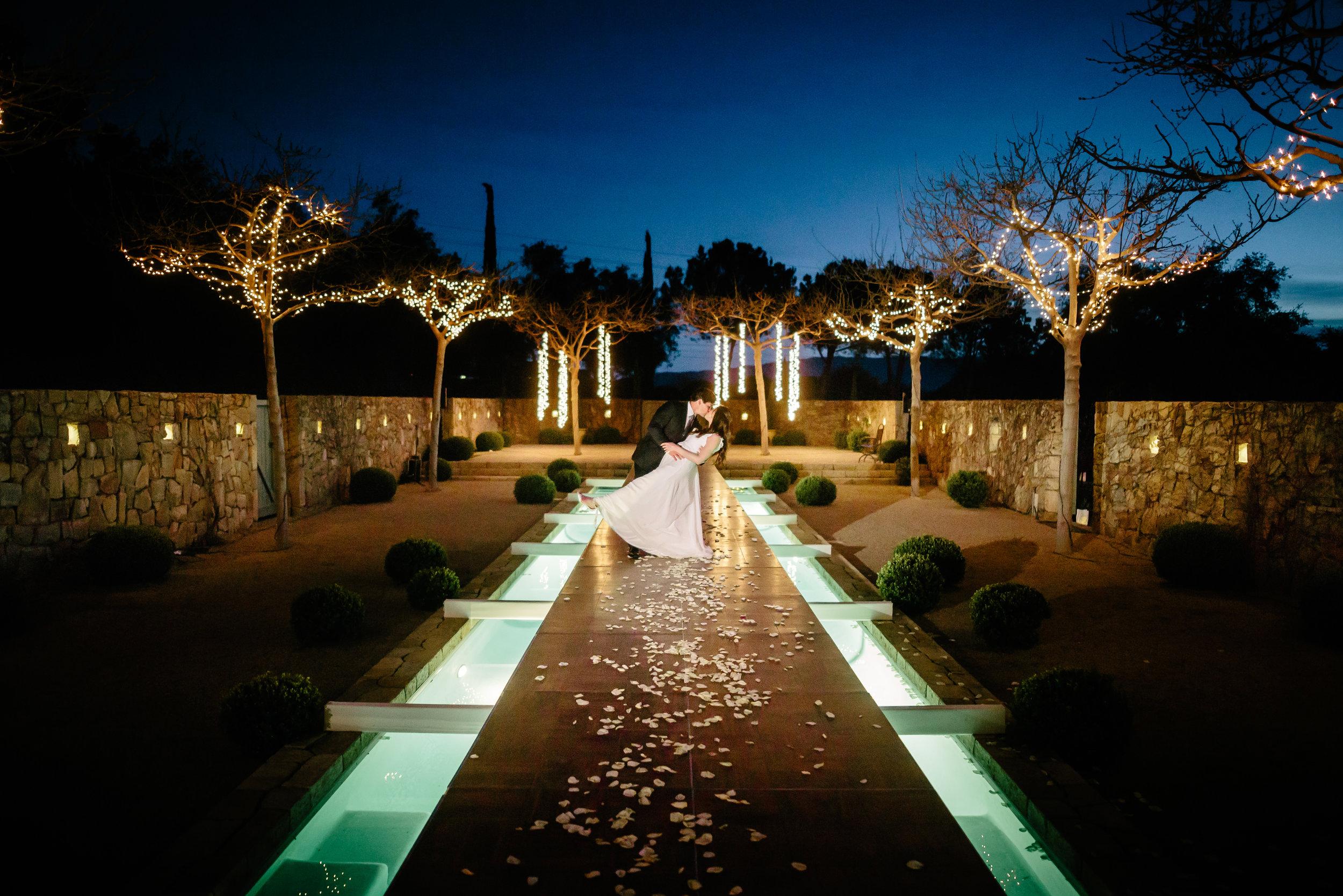 www.santabarbarawedding.com | Rewind Photography | Provence in Ojai | Pool Runway | Bride and Groom | Vigen's Party Rentals