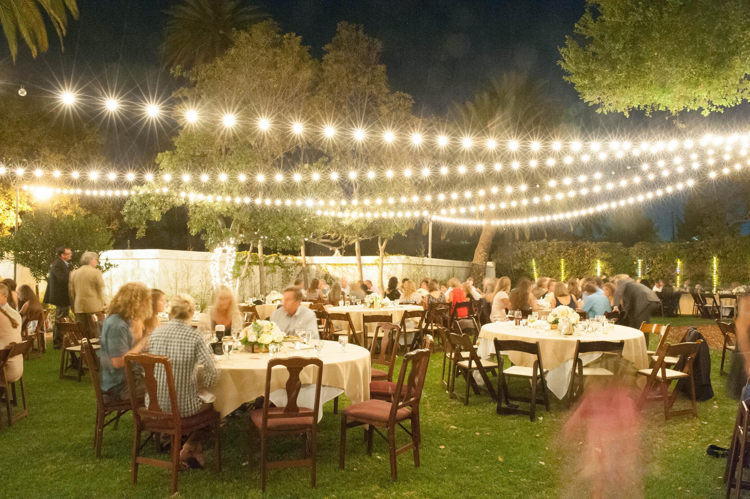 www.santabarbarawedding.com | ByCherry Photography | The Santa Barbara Club | Wedding Venue | Private Estate | String Lights | Garden Wedding