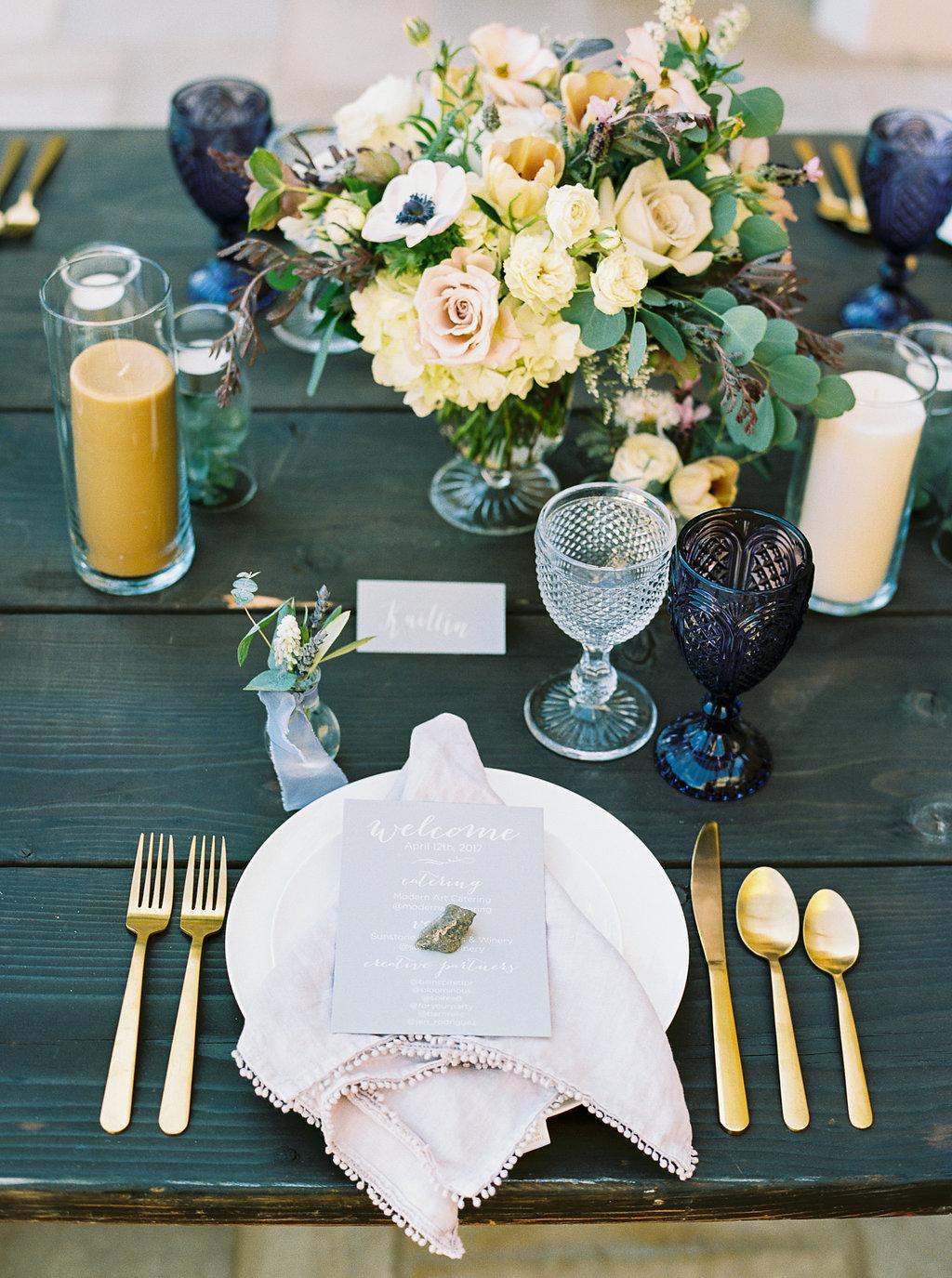 www.santabarbarawedding.com | Sunstone Winery | Jen Rodriguez | Dinner Party | Place Setting