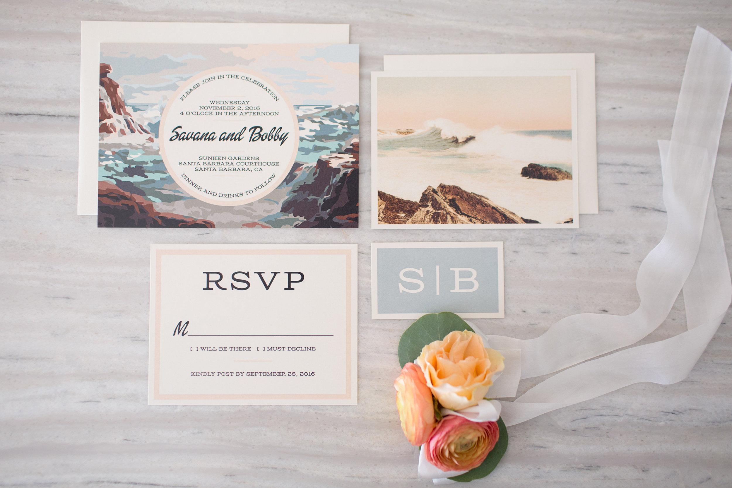 www.santabarbarawedding.com | Anna J Photography | Santa Barbara Courthouse | Wedding Invitations