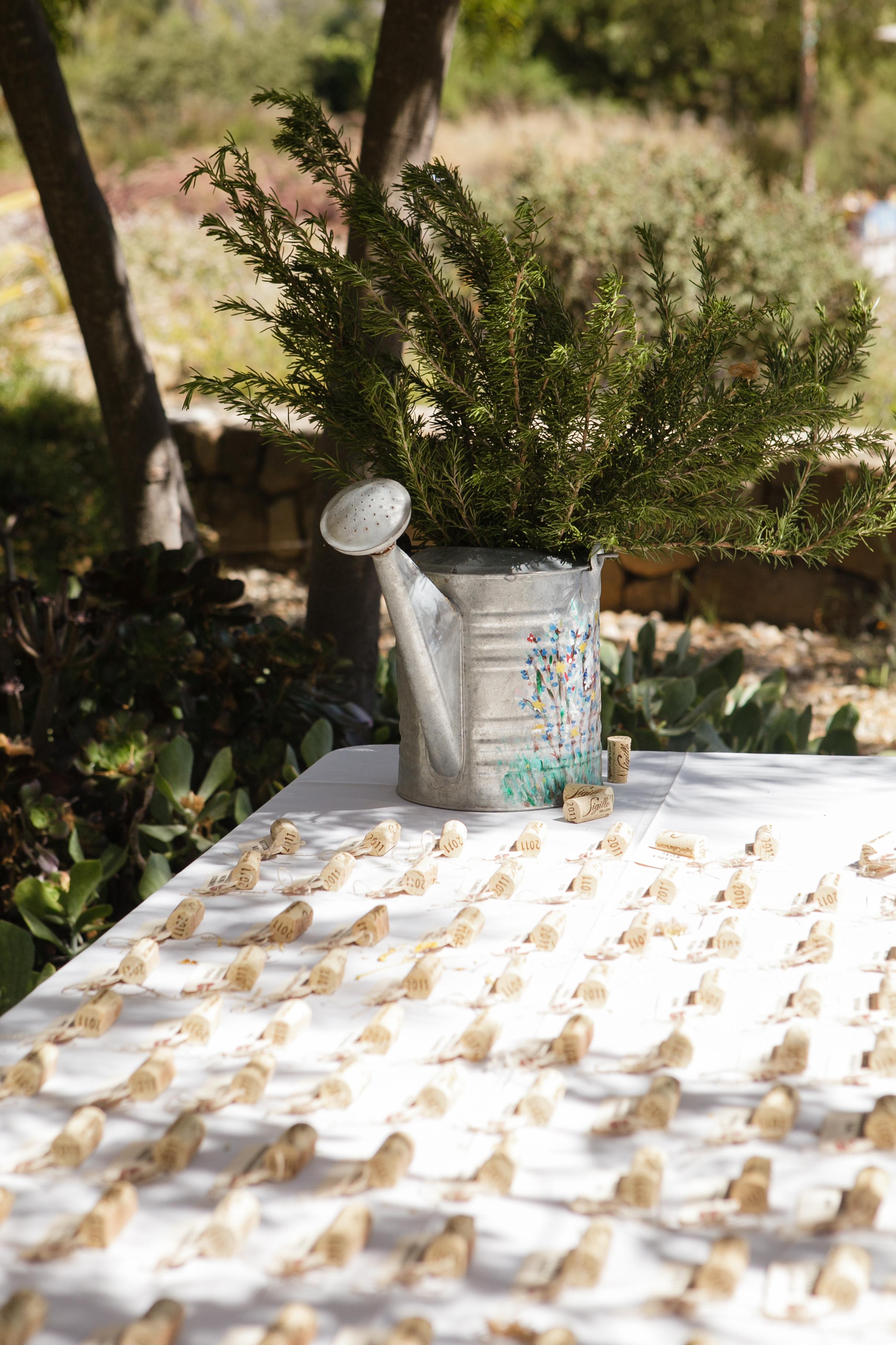 www.santabarbarawedding.com | Andrejka Photography | Red Tail Ranch | Escort Cards | Wine Corks