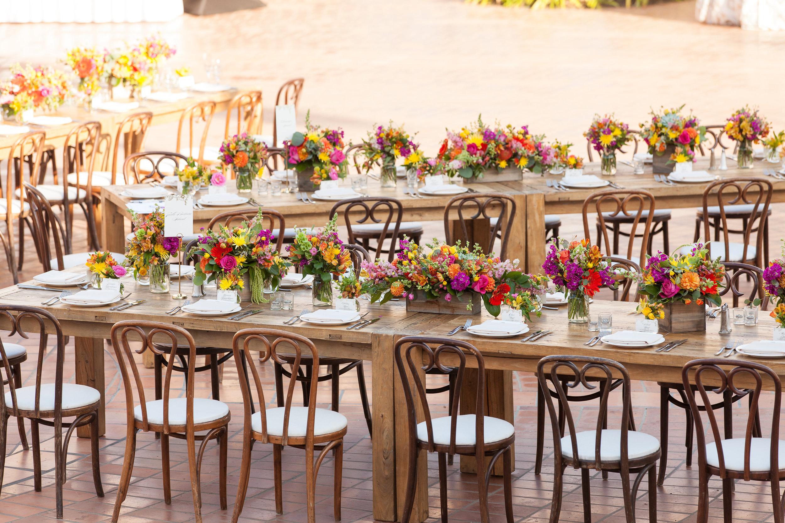 www.santabarbarawedding.com | fess parker resort | wedding ceremony | colorful centerpieces | Plaza del Sol | Bijoux Events