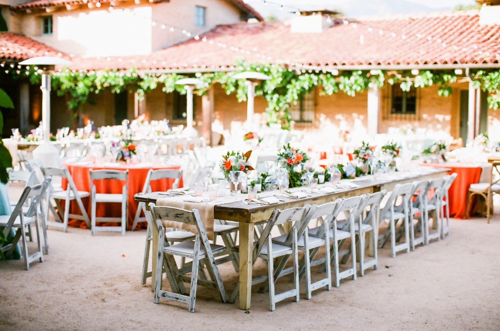 www,santabarbarawedding.com | felici Events | orange wedding inspiration | santa barbara historical museum | wedding reception | precious and blooming | nancy neil photo