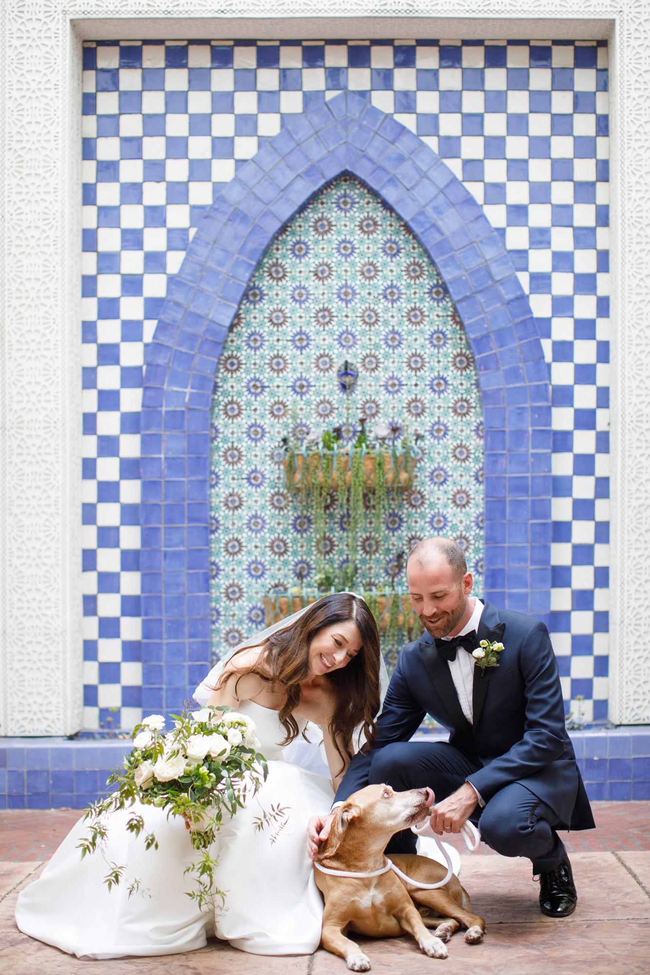 www.santabarbarawedding.com | Kiel Rucker | Canary Hotel | Bride and Groom and Dog