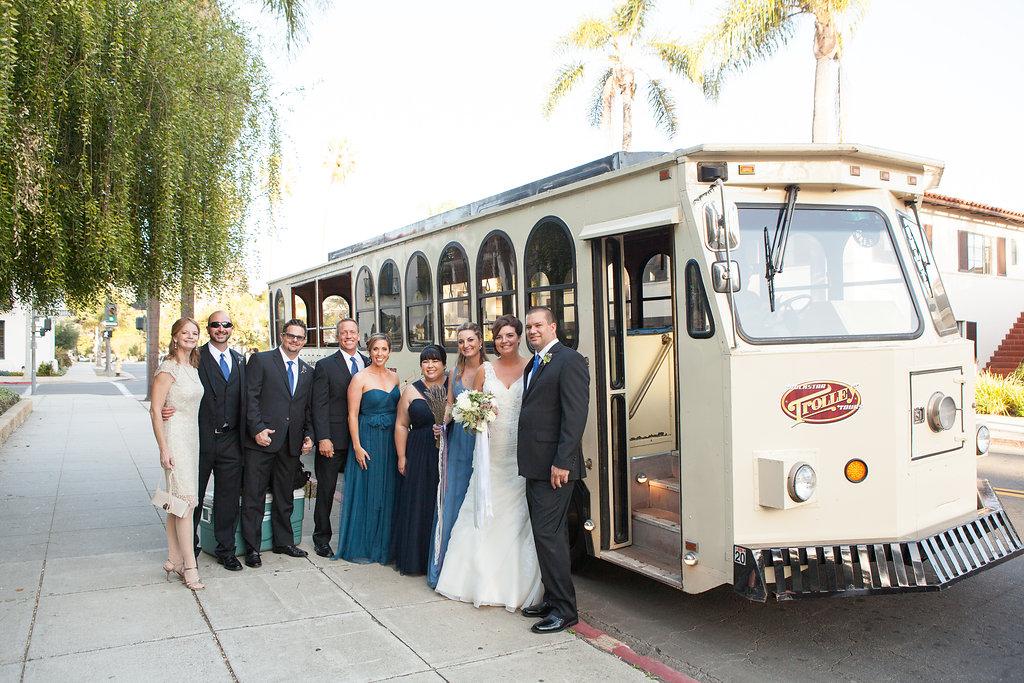 www.santabarbarawedding.com | Felici Events | Melissa Musgrove | El Paseo | Trolley Ride