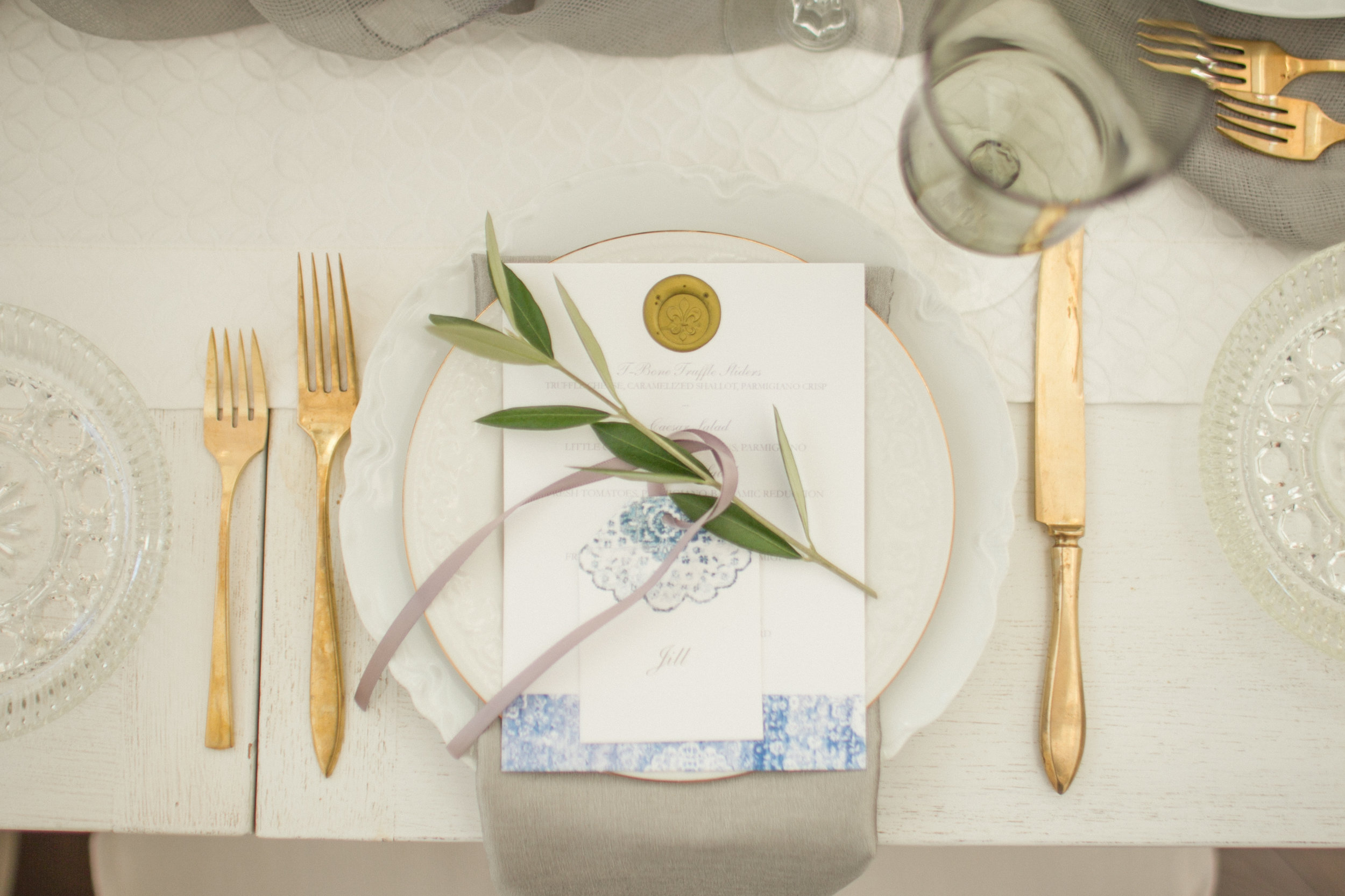 www.santabarbarawedding.com | Atelier de La Fleur Weddings & Events | Mike Larson | Reception Place Setting