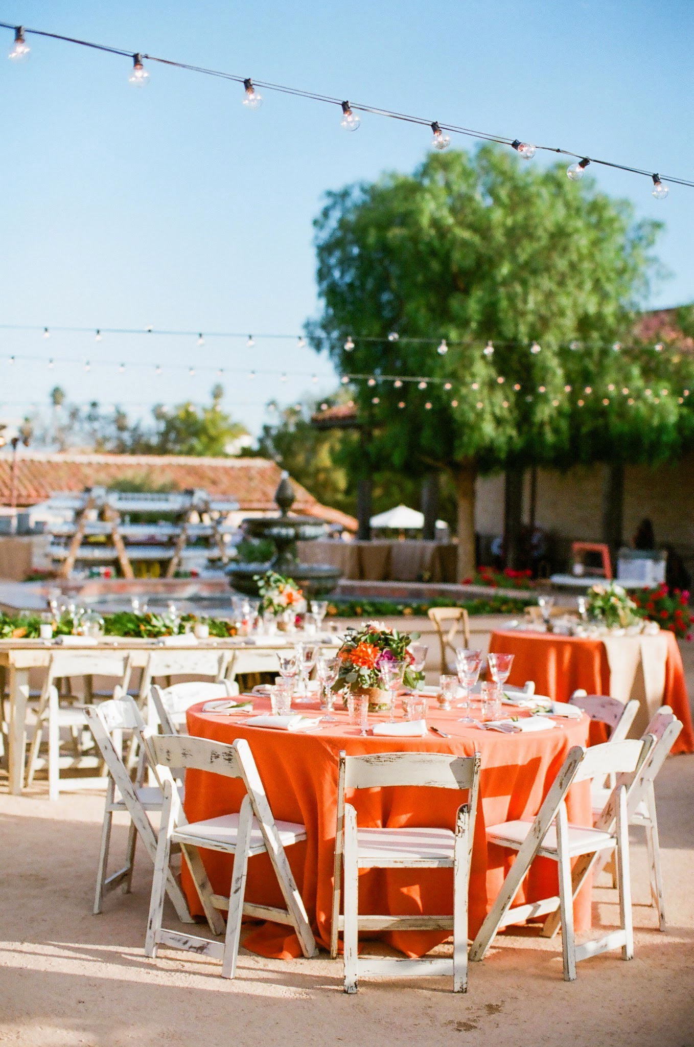www.santabarbarawedding.com | Felici Events | Santa Barbara Historical Museum | Orange and Aqua | Eclectic Wedding | Nancy Neil Photography | Town and Country Event Rentals