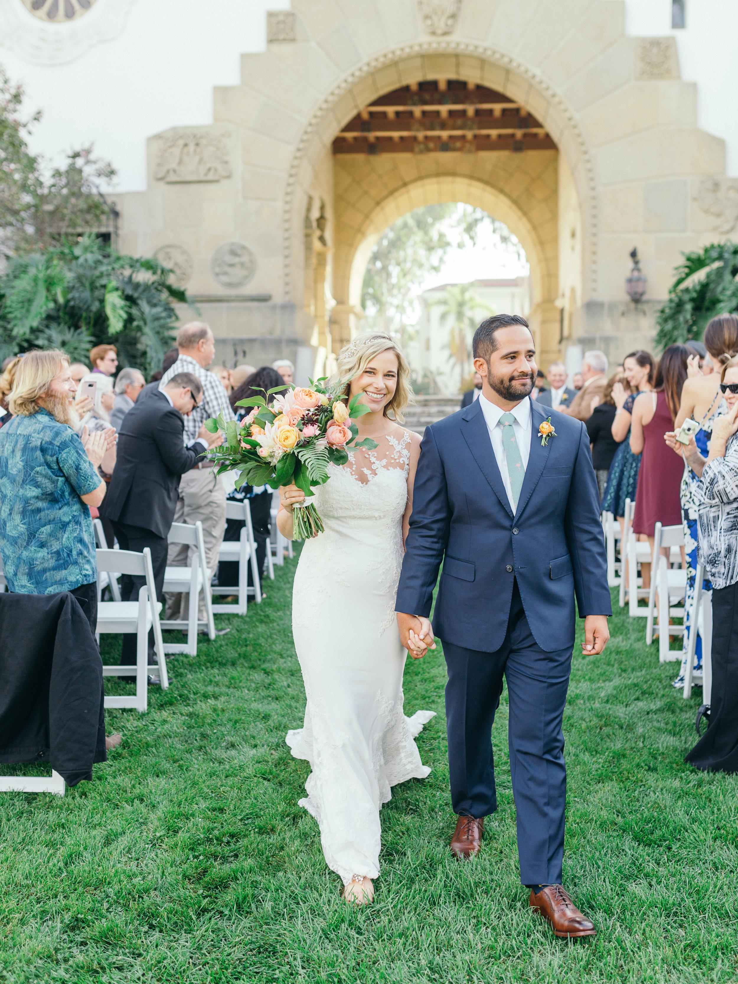 www.santabarbarawedding.com | Kiel Rucker | Riviera Mansion | Bride and Groom Walking Down Aisle