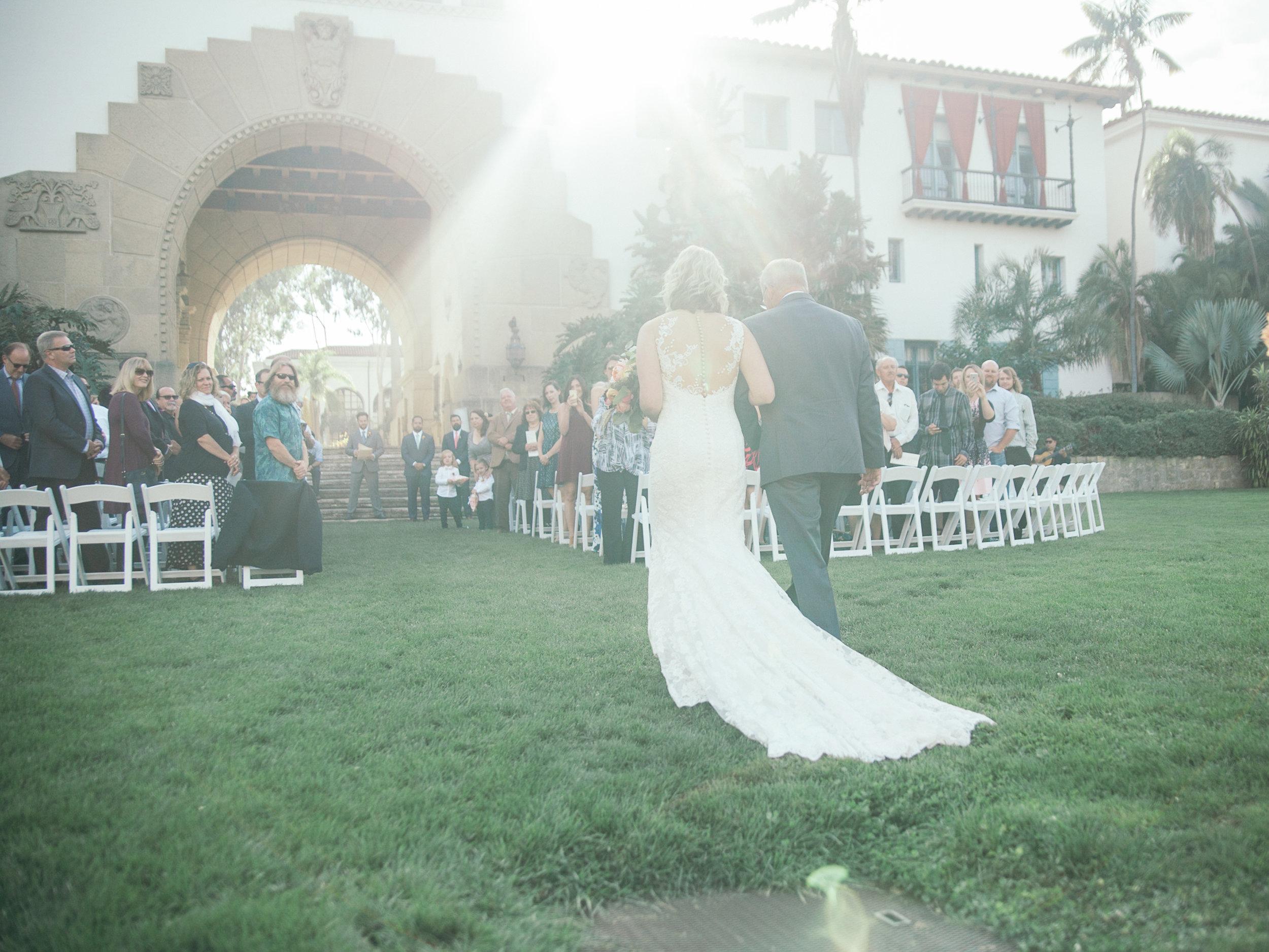 www.santabarbarawedding.com | Kiel Rucker | Riviera Mansion | Bride and Father Walking down Aisle