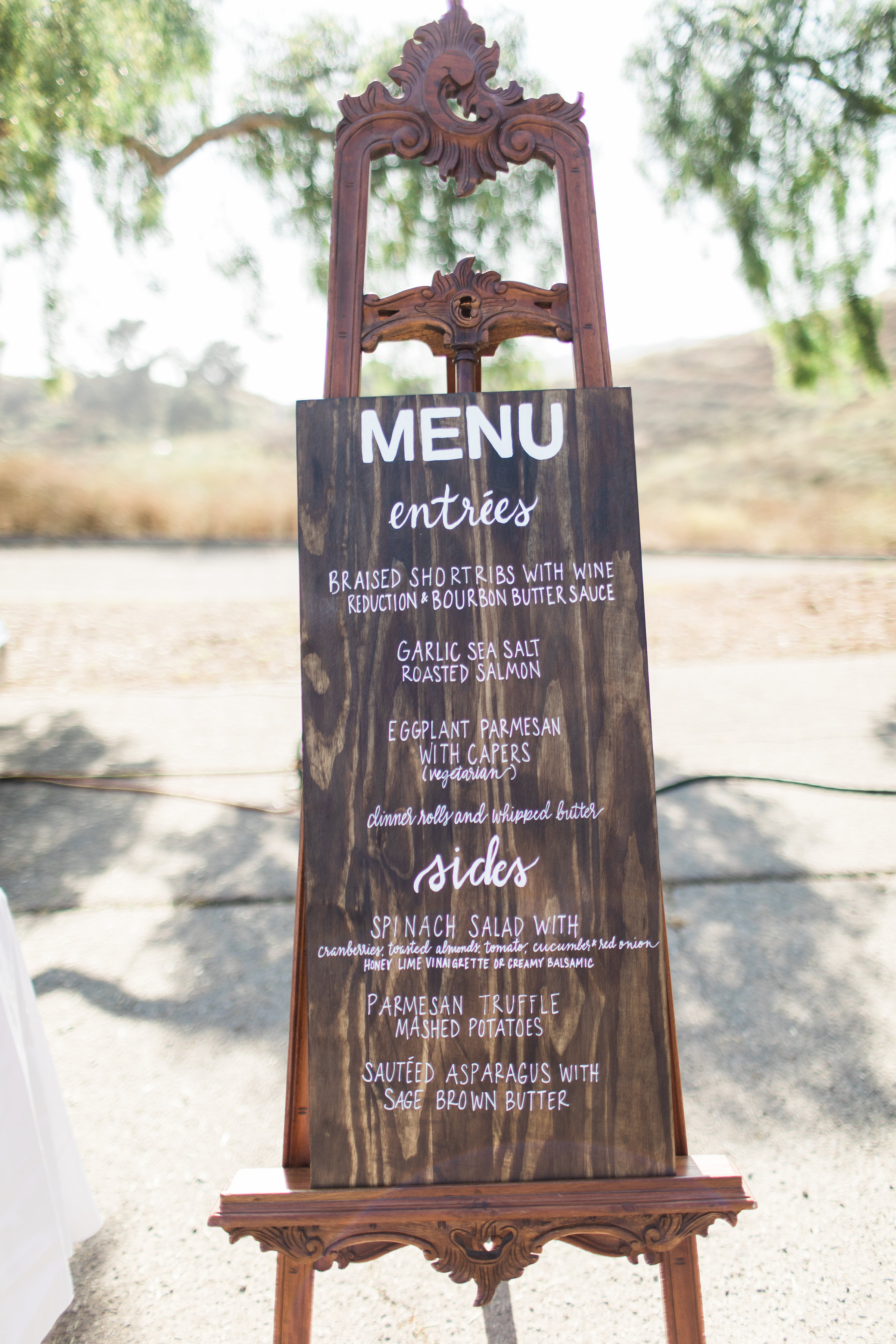 www.santabarbarawedding.com | Ann Johnson | Katie Shuler Photography | Ventura Botanical Gardens | Menu Sign
