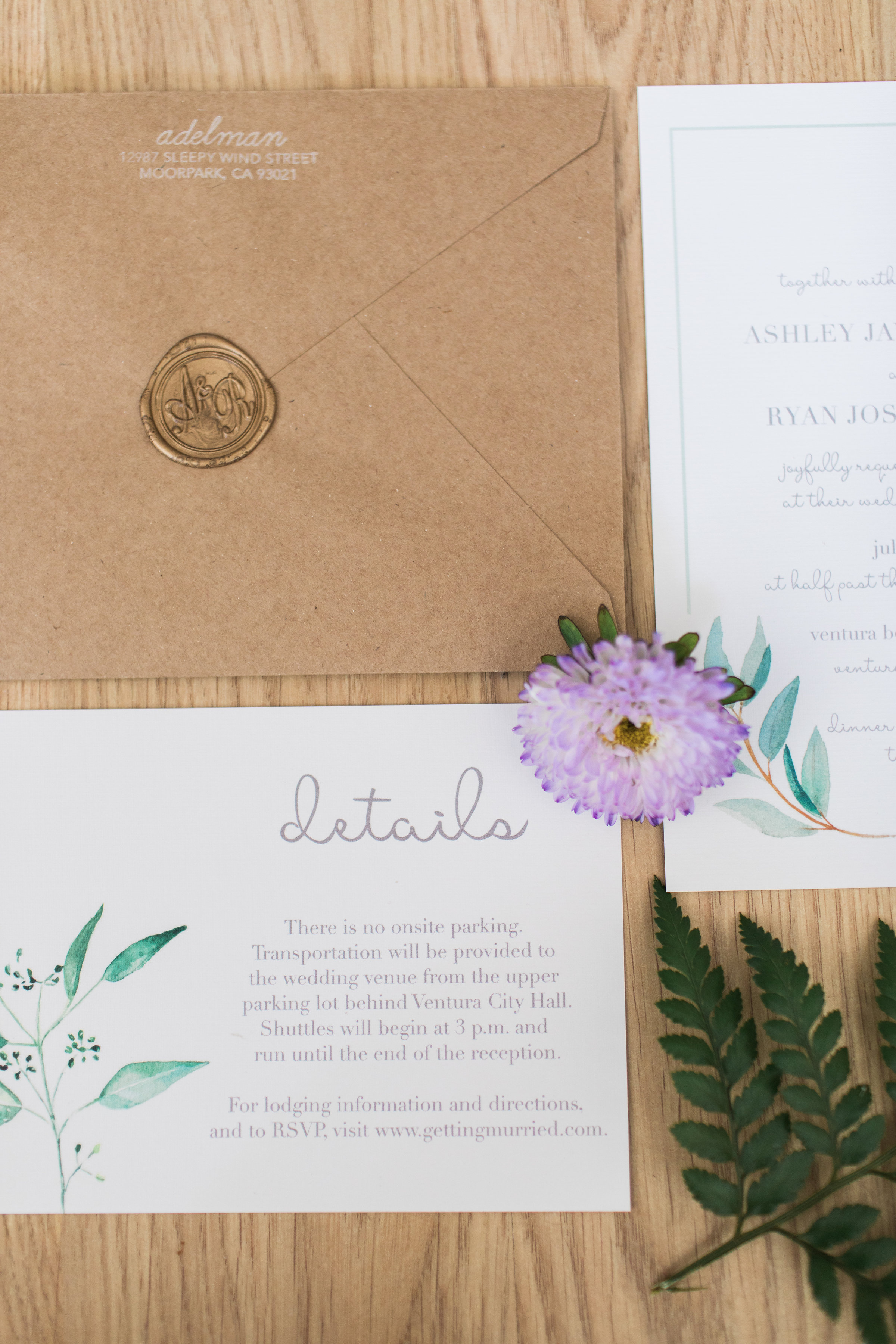 www.santabarbarawedding.com | Ann Johnson | Katie Shuler Photography | Ventura Botanical Gardens | Wedding Invitations