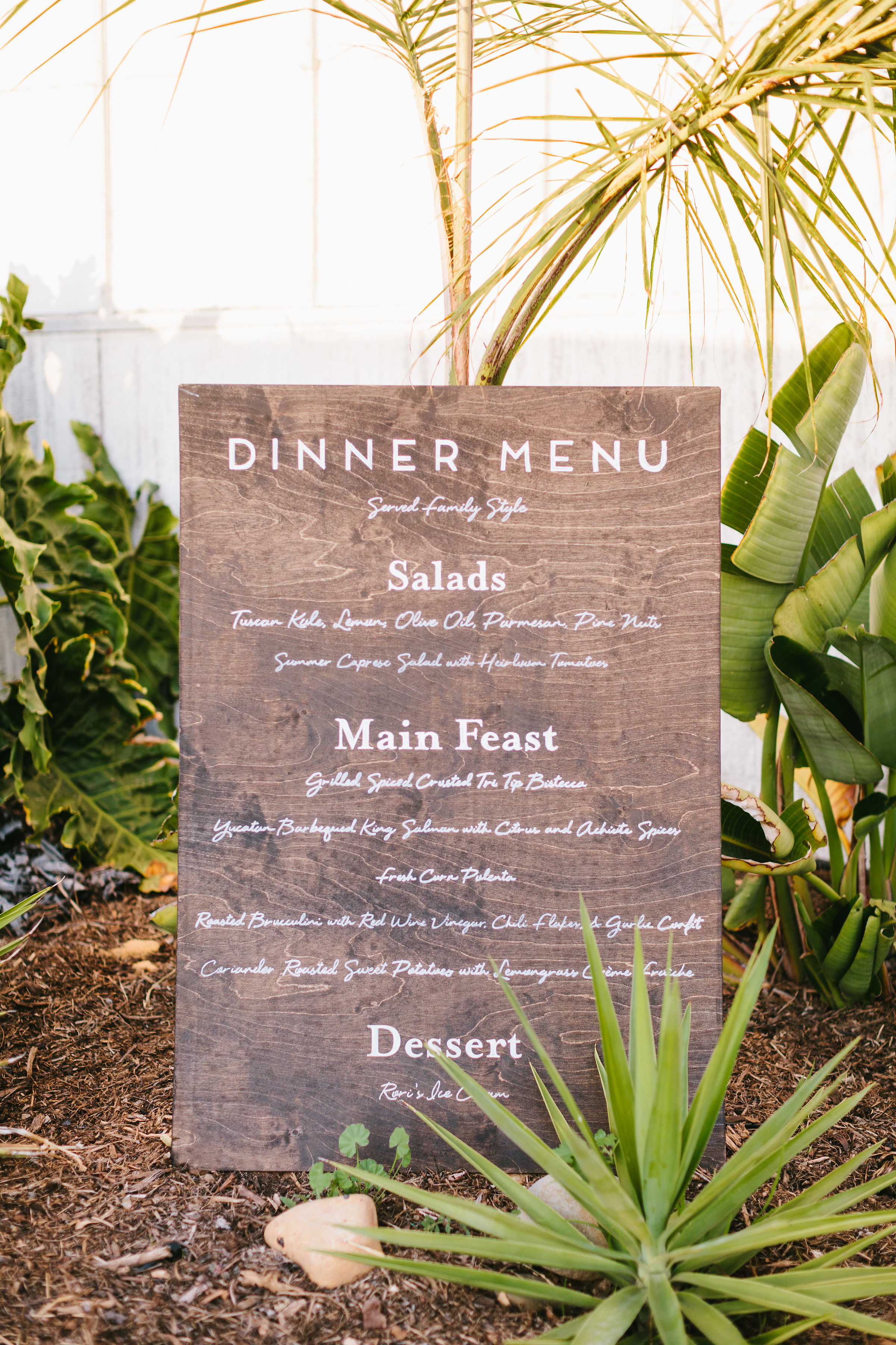 www.santabarbarawedding.com | Jodee Debes | Dos Pueblos Orchid Farm | Dinner Menu