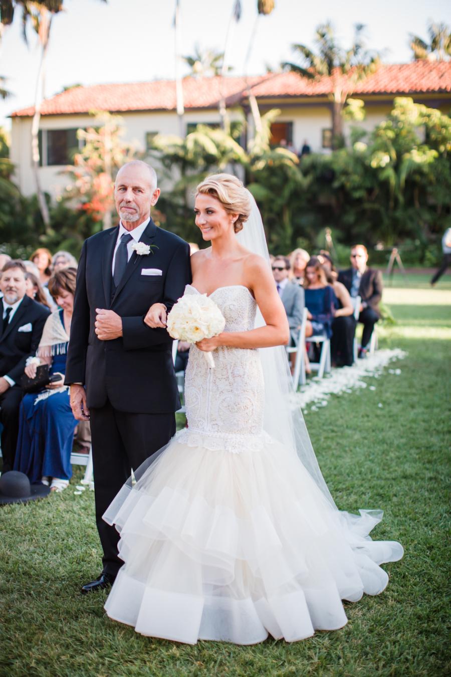 www.santabarbarawedding.com | Ann Johnson Events | Jessica Lewis | The Biltmore | Bride walking down aisle