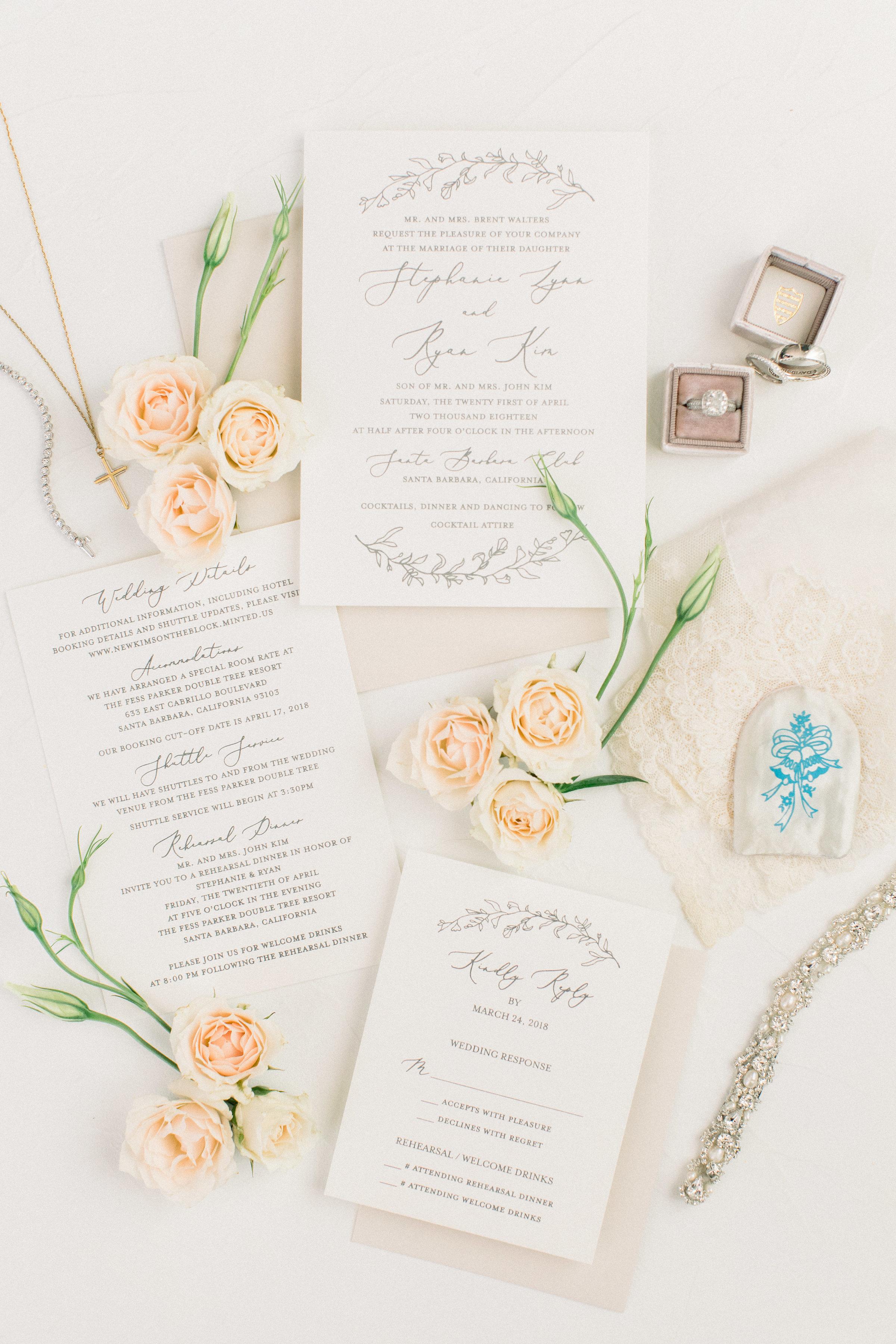 www.santabarbarawedding.com | Jenny Quicksall | Santa Barbara Club | Bluebell Events | Wedding Invitations
