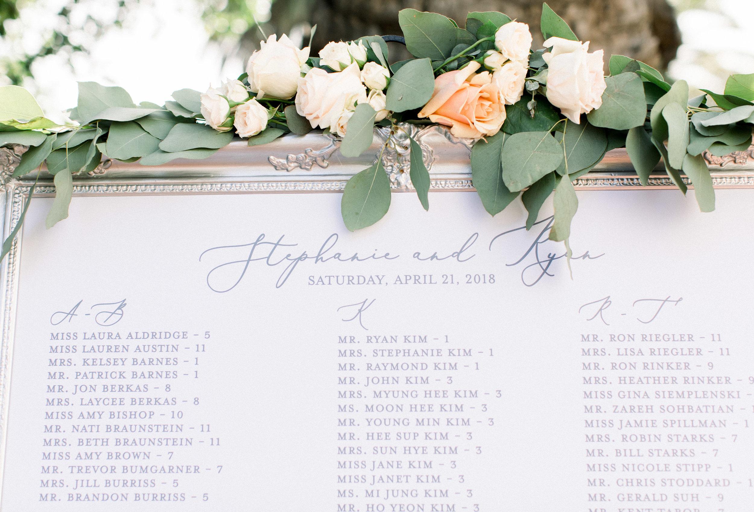 www.santabarbarawedding.com | Jenny Quicksall | Santa Barbara Club | Bluebell Events | Seating Chart