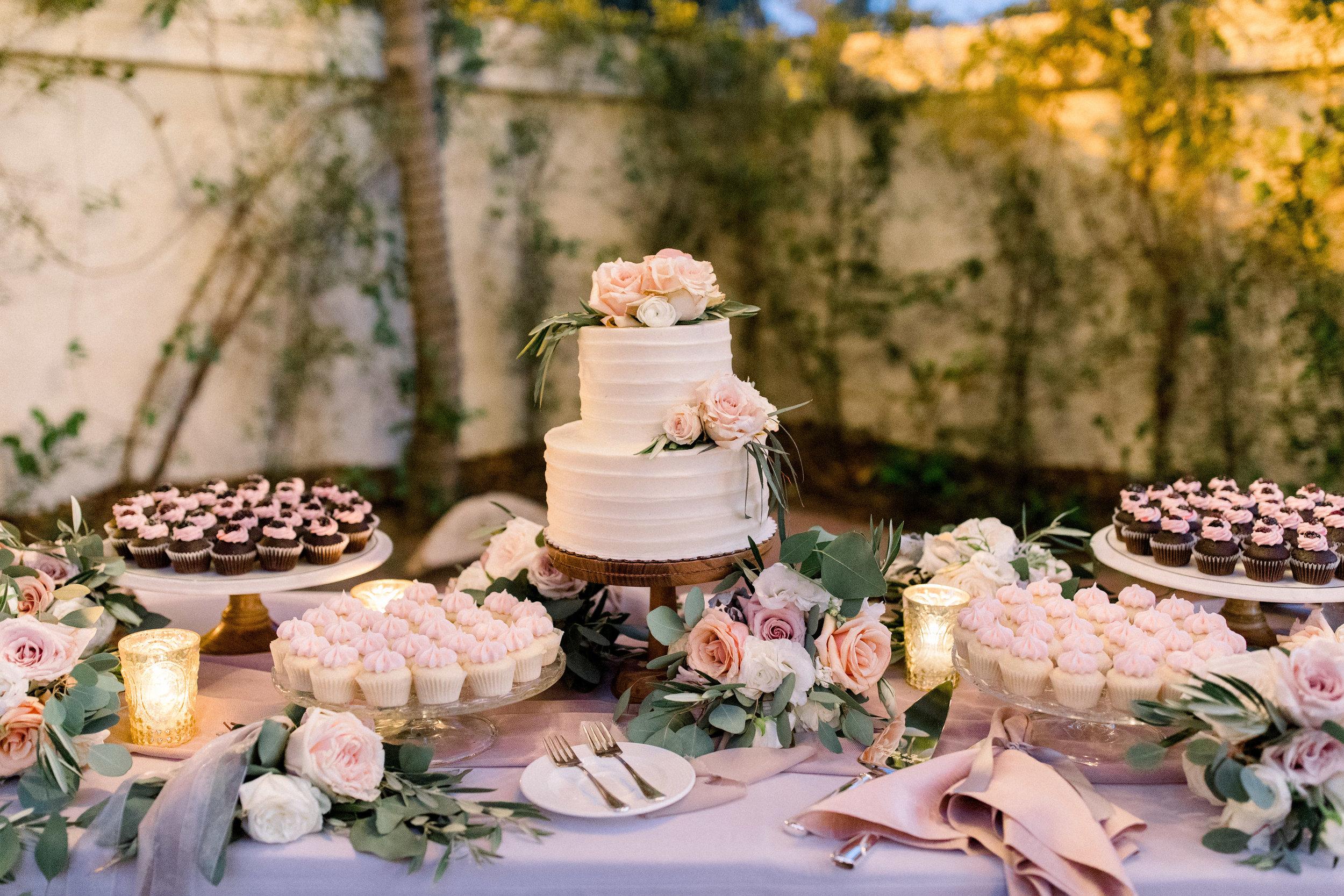 www.santabarbarawedding.com | Jenny Quicksall | Santa Barbara Club | Bluebell Events | Wedding Cake and Dessert Table