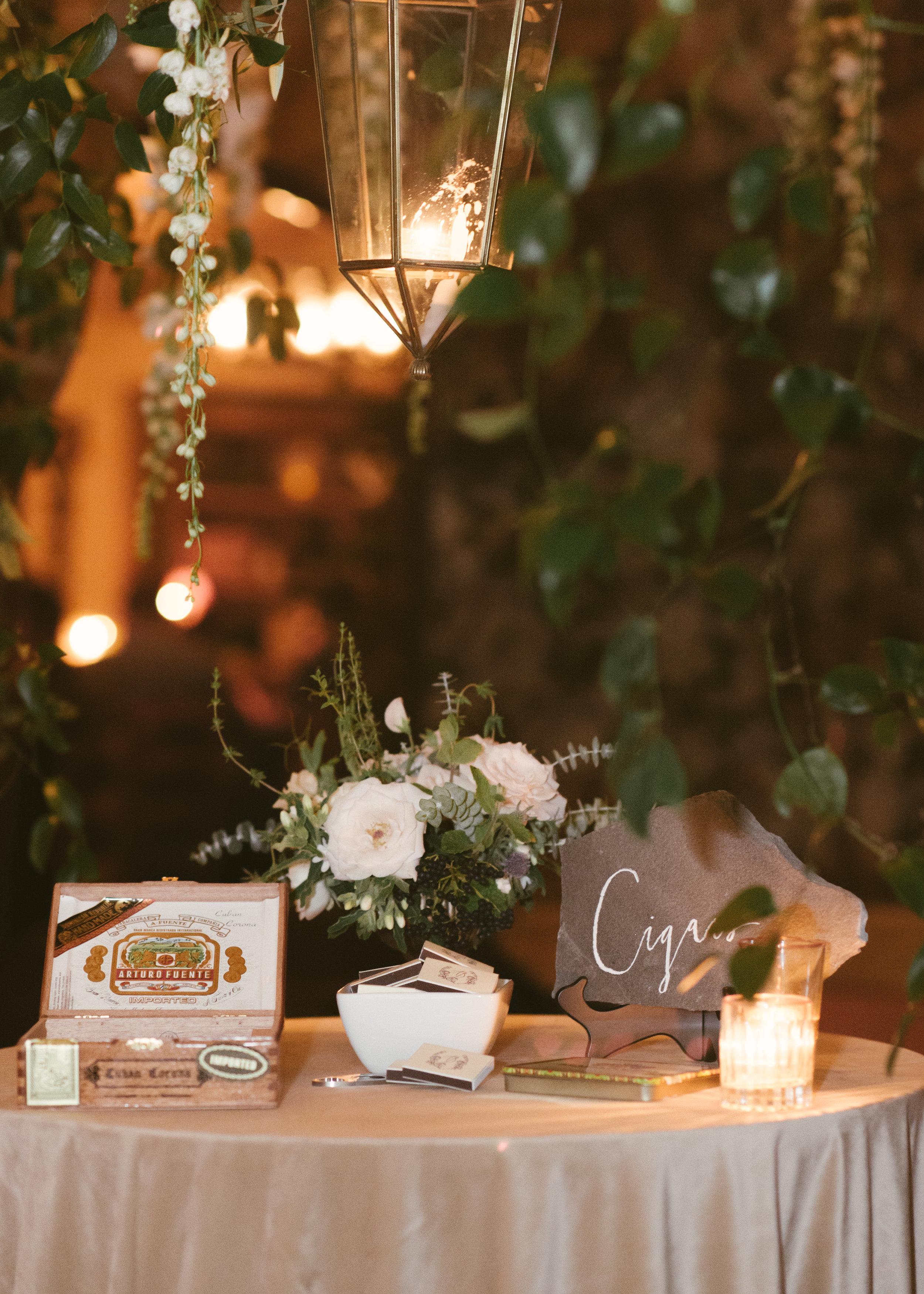 www.santabarbarawedding.com   Event of the Season   Norman and Blake   San Ysidro Ranch   Cigar Table