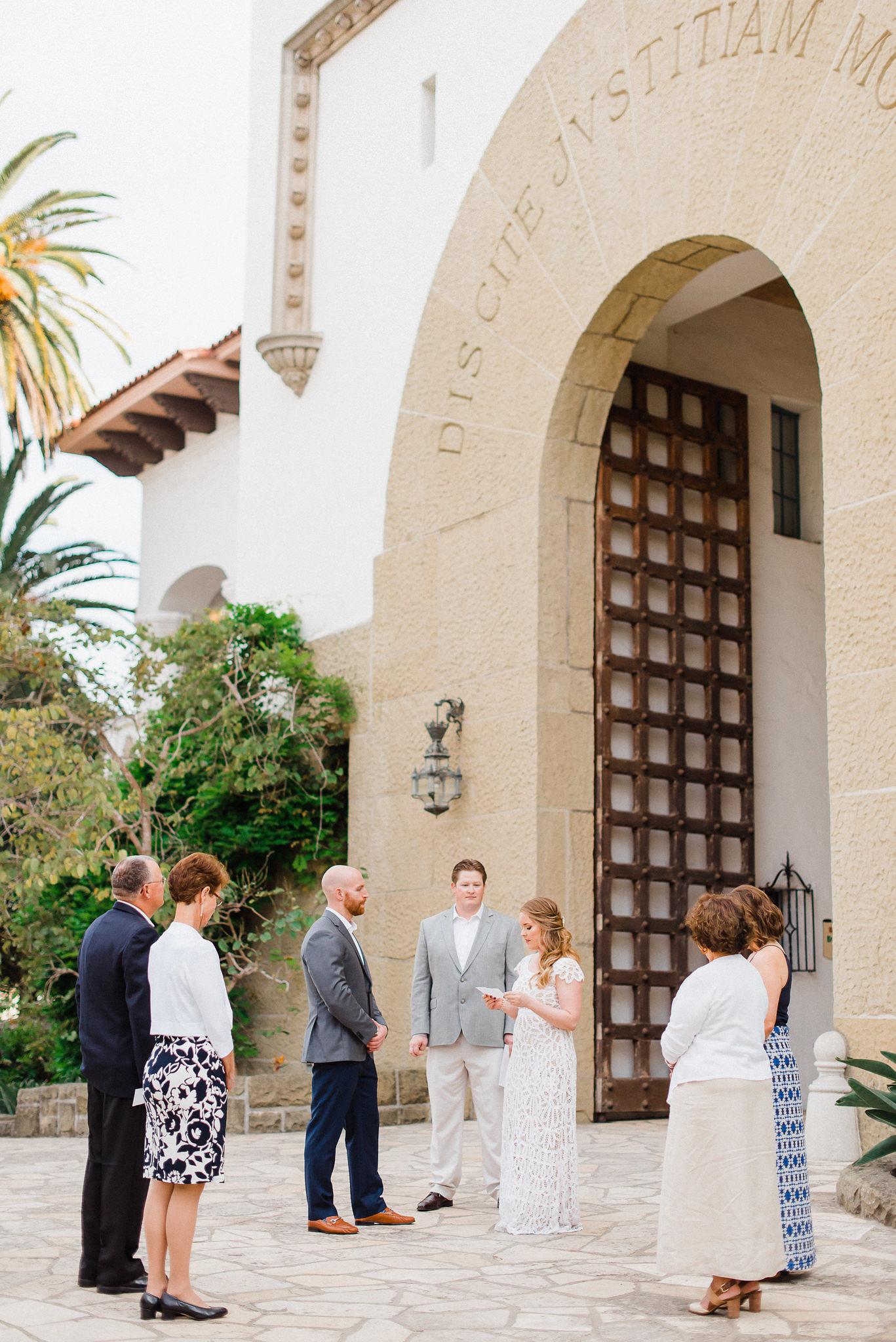 www.santabarbarawedding.com   Grace Kathryn Photo   Santa Barbara Courthouse Elopement   Ceremony