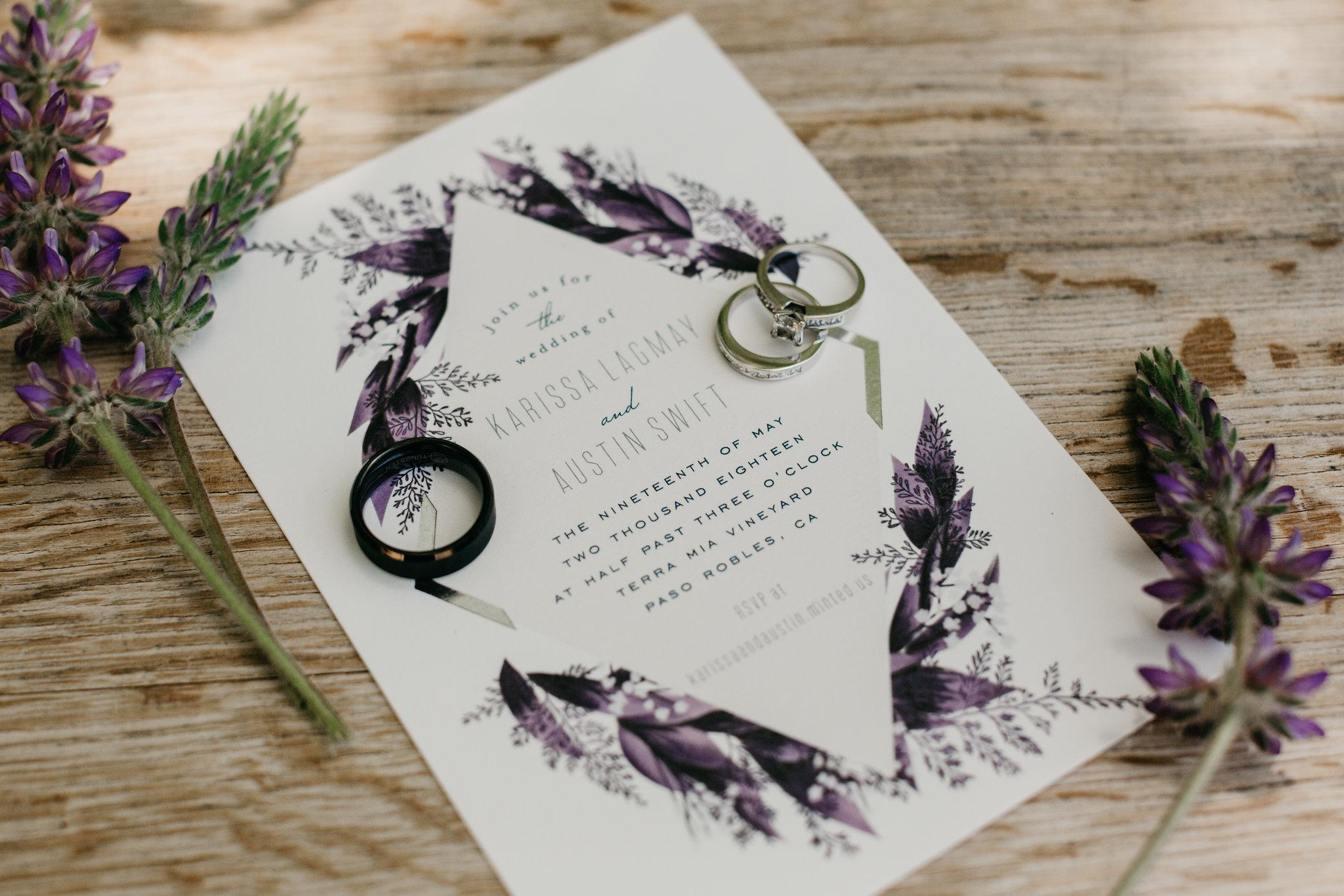 www.santabarbarawedding.com | Terra Mia Vineyard | Diana Lake Photography | Invitation and Wedding Rings