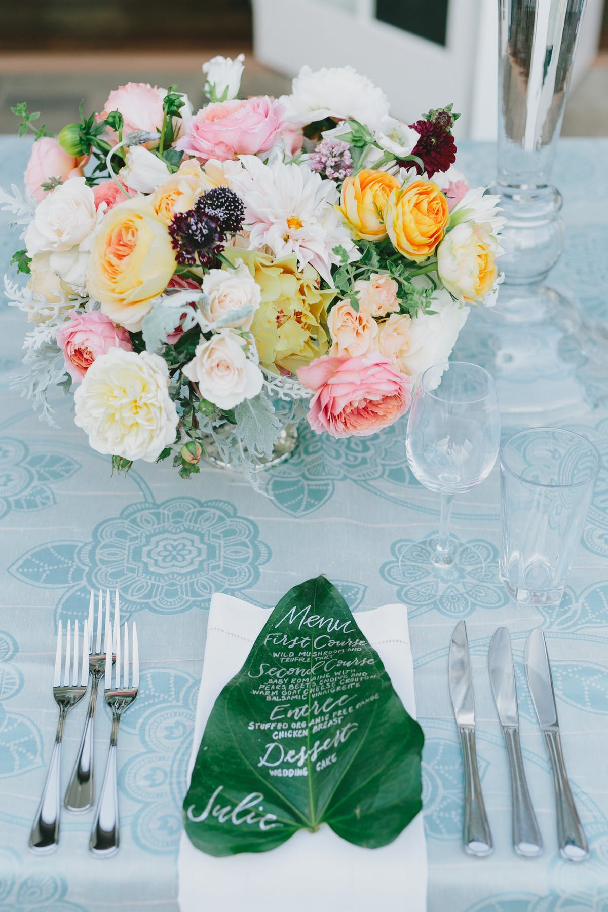 www.santabarbarawedding.com | San Ysidro Ranch | Alegria by Design | Jake + Necia Photography | Monstera Leaf Menu