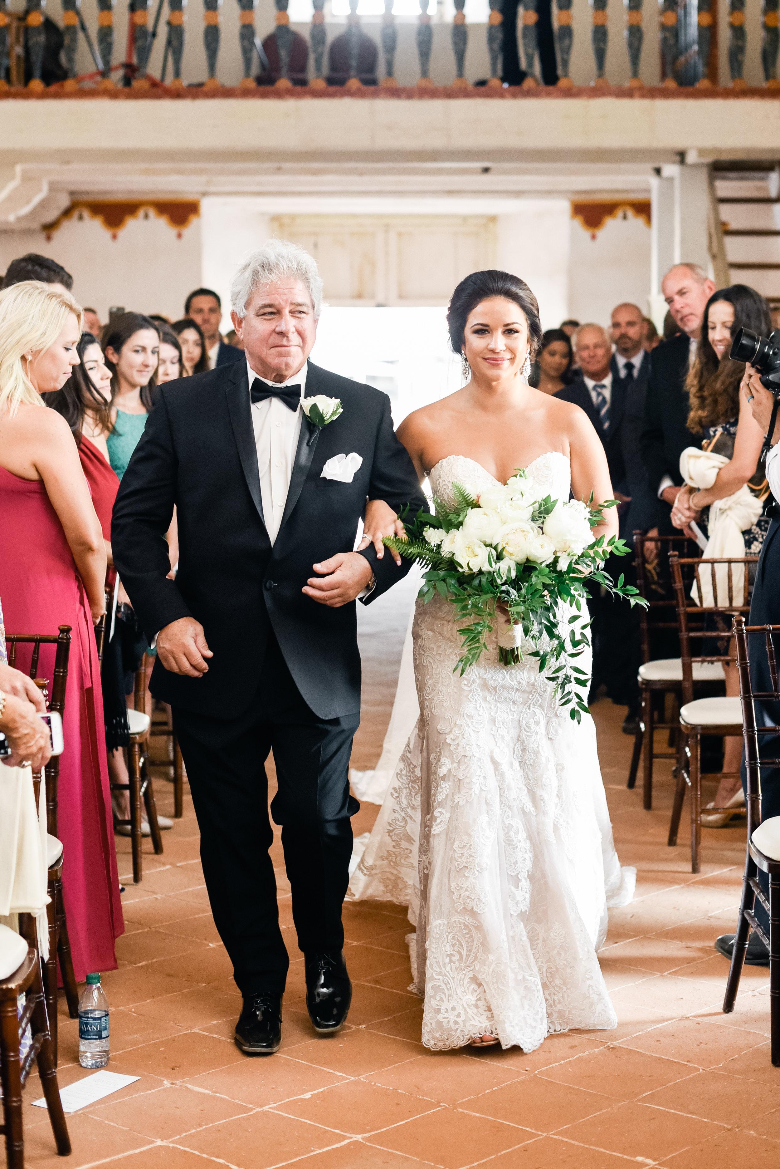 www.santabarbarawedding.com   El Presidio   Santa Barbara Club   Taralynn Lawton   Bride and Father walking down aisle