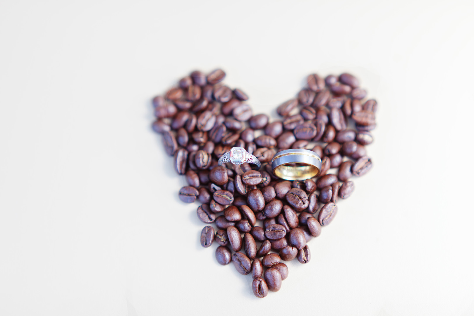 www.santabarbarawedding.com | Kay Mitchell | The Carriage House Effortless Events | Wedding Rings | Coffee Beans