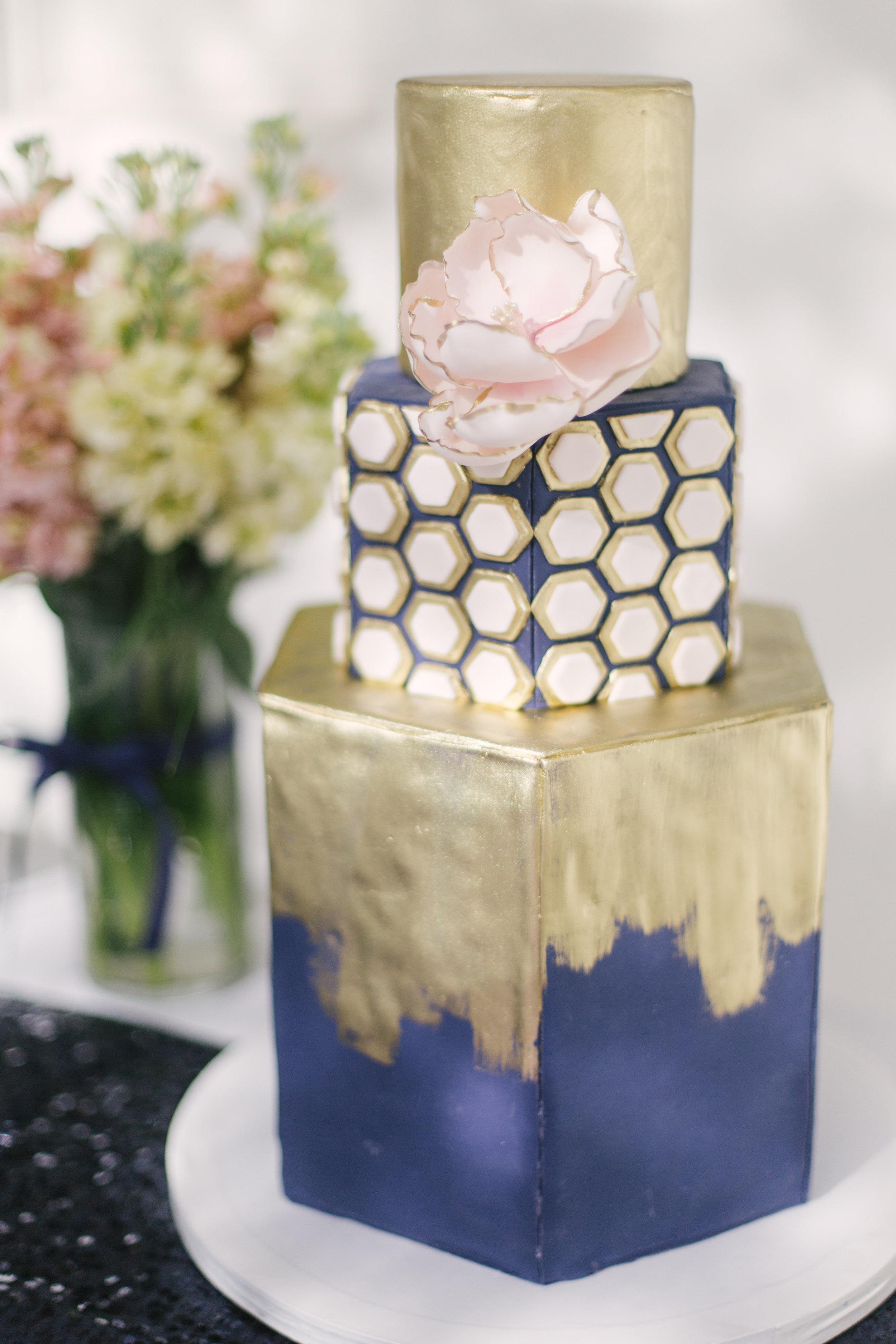 www.santabarbarawedding.com   gold and blue hexagonal cake   wedding cake   lilac patisserie   Linsey Drewes
