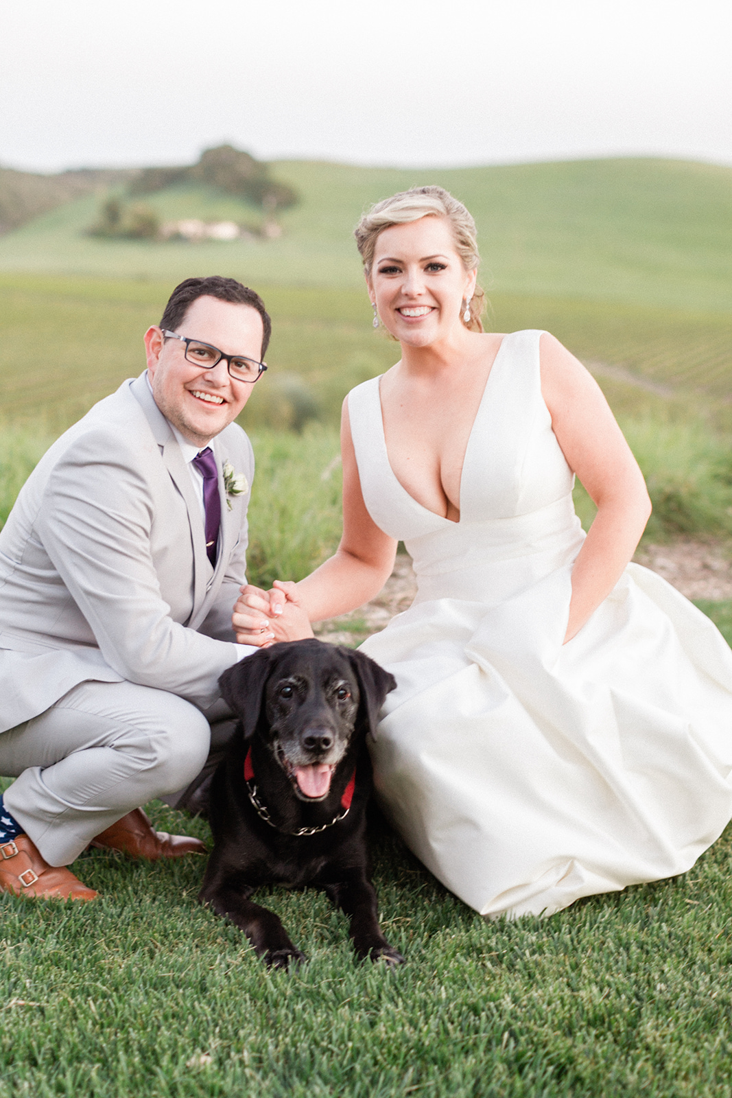 www.santabarbarawedding.com | Mike Larson | Islay Events | Greengate Ranch | Bride and Groom and Dog