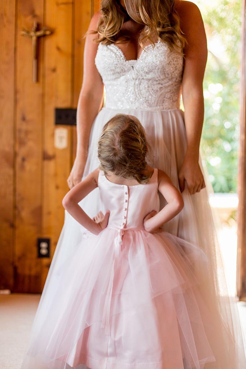 www.santabarbarawedding.com   Phillip Van Nostrand   Casitas Valley Farm   Bride and Flower Girl