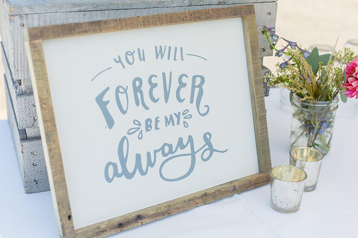 www.santabarbarawedding.com   Phillip Van Nostrand   Casitas Valley Farm   Wedding Sign