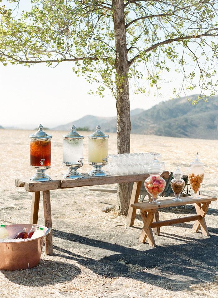 www.santabarbarawedding.com | Soigne Productions | Figueroa Mountain Farmhouse | Lacie Hansen | Drink Table